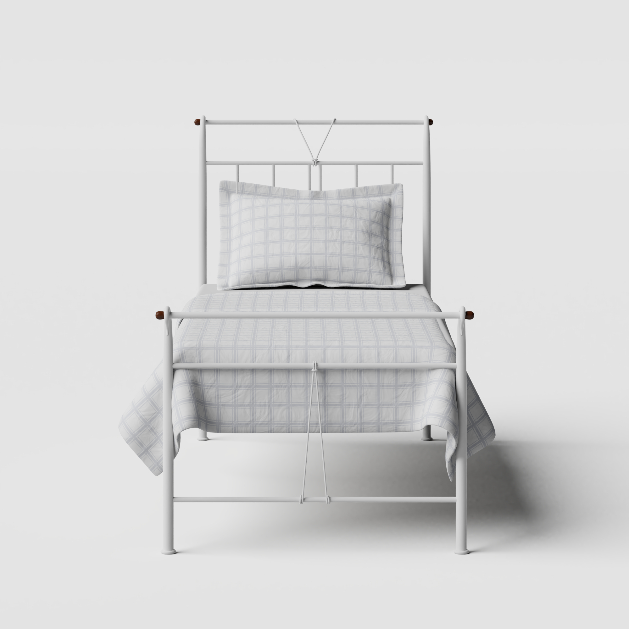 Pellini iron/metal single bed in white