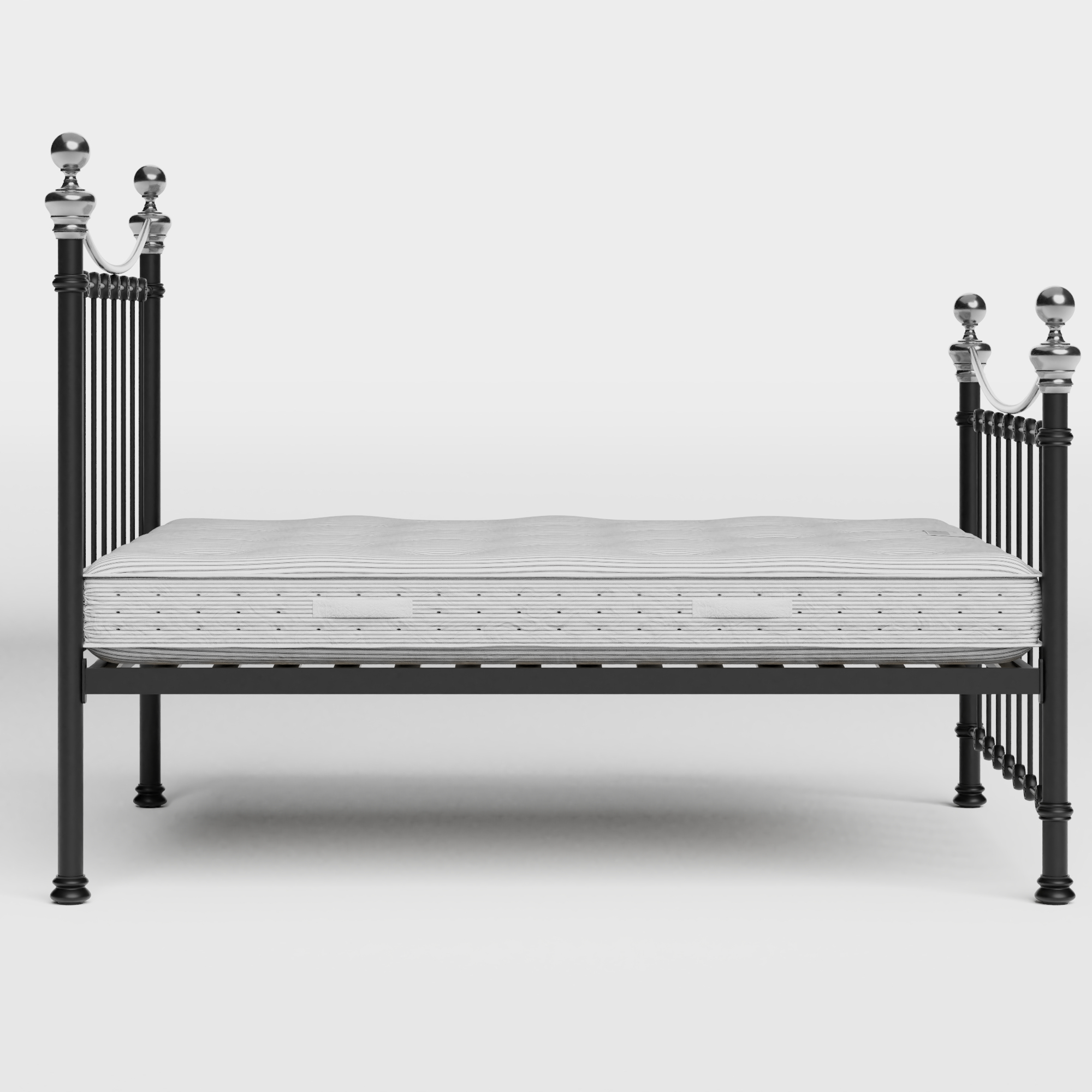 Selkirk Chromo iron/metal bed in black with Juno mattress
