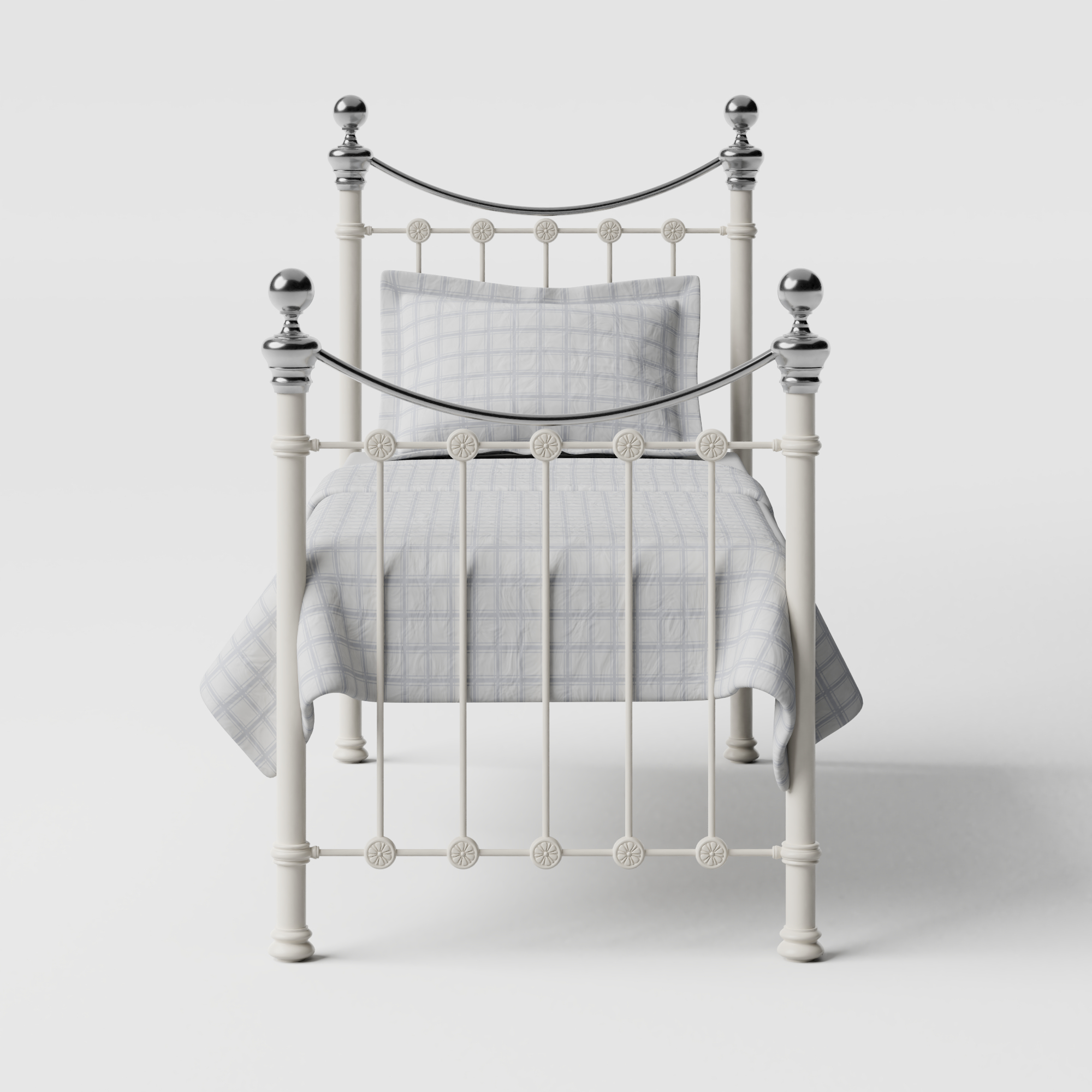 Selkirk Chromo iron/metal single bed in ivory