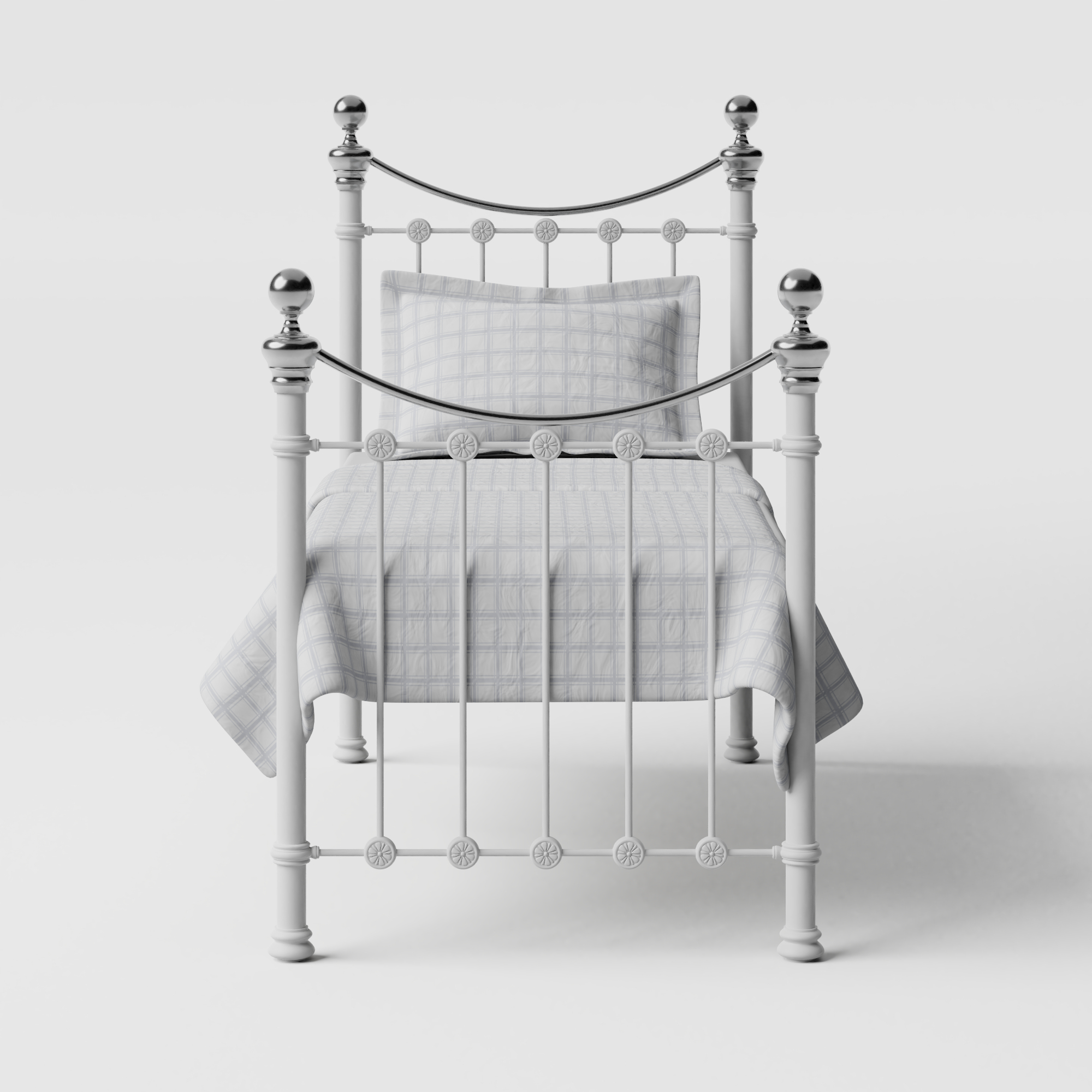 Selkirk Chromo iron/metal single bed in white