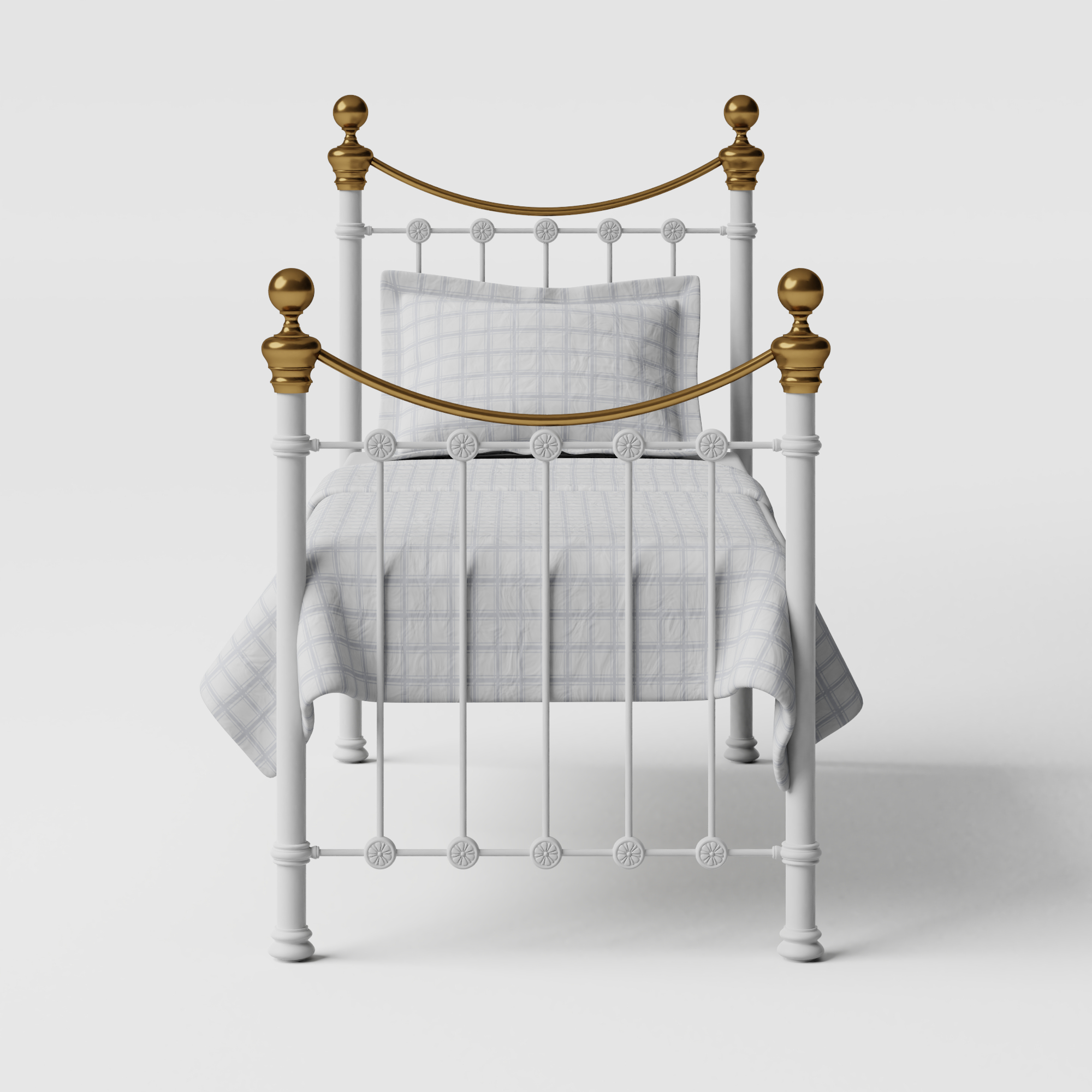 Selkirk iron/metal single bed in white