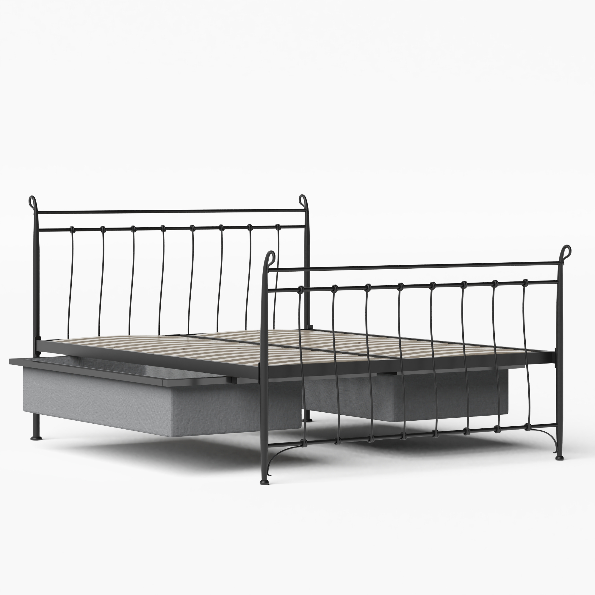 Tiffany iron/metal bed in black with drawers