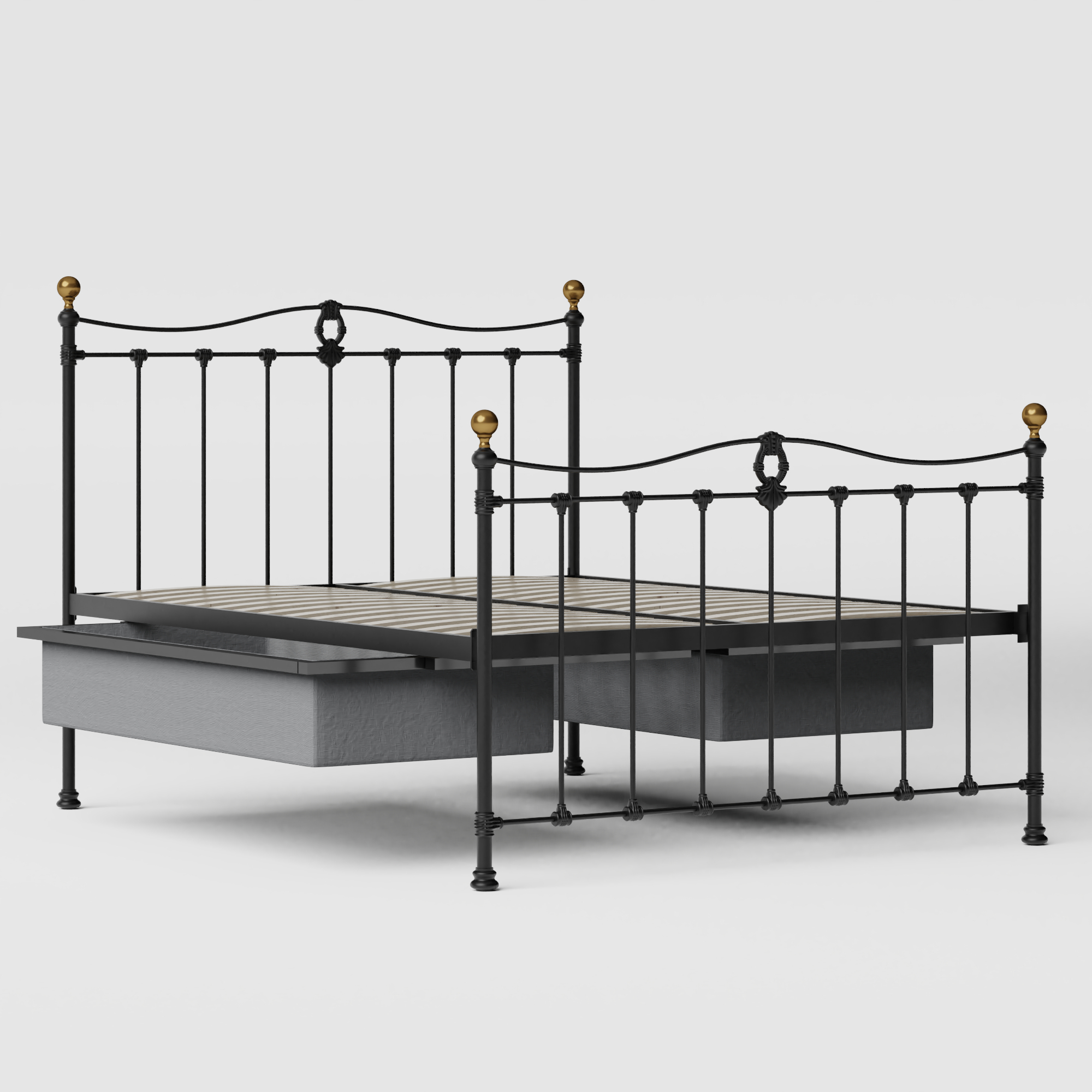Tulsk iron/metal bed in black with drawers