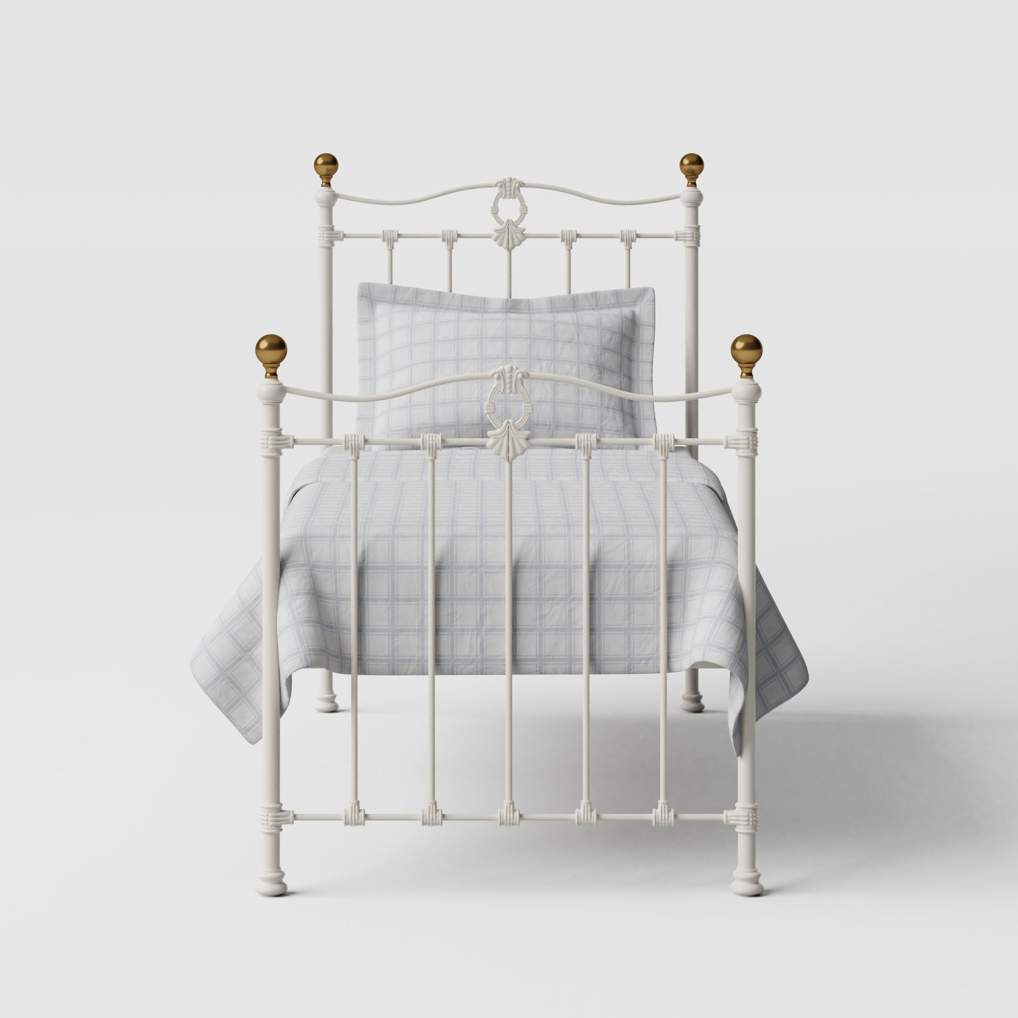 Tulsk iron/metal single bed in ivory