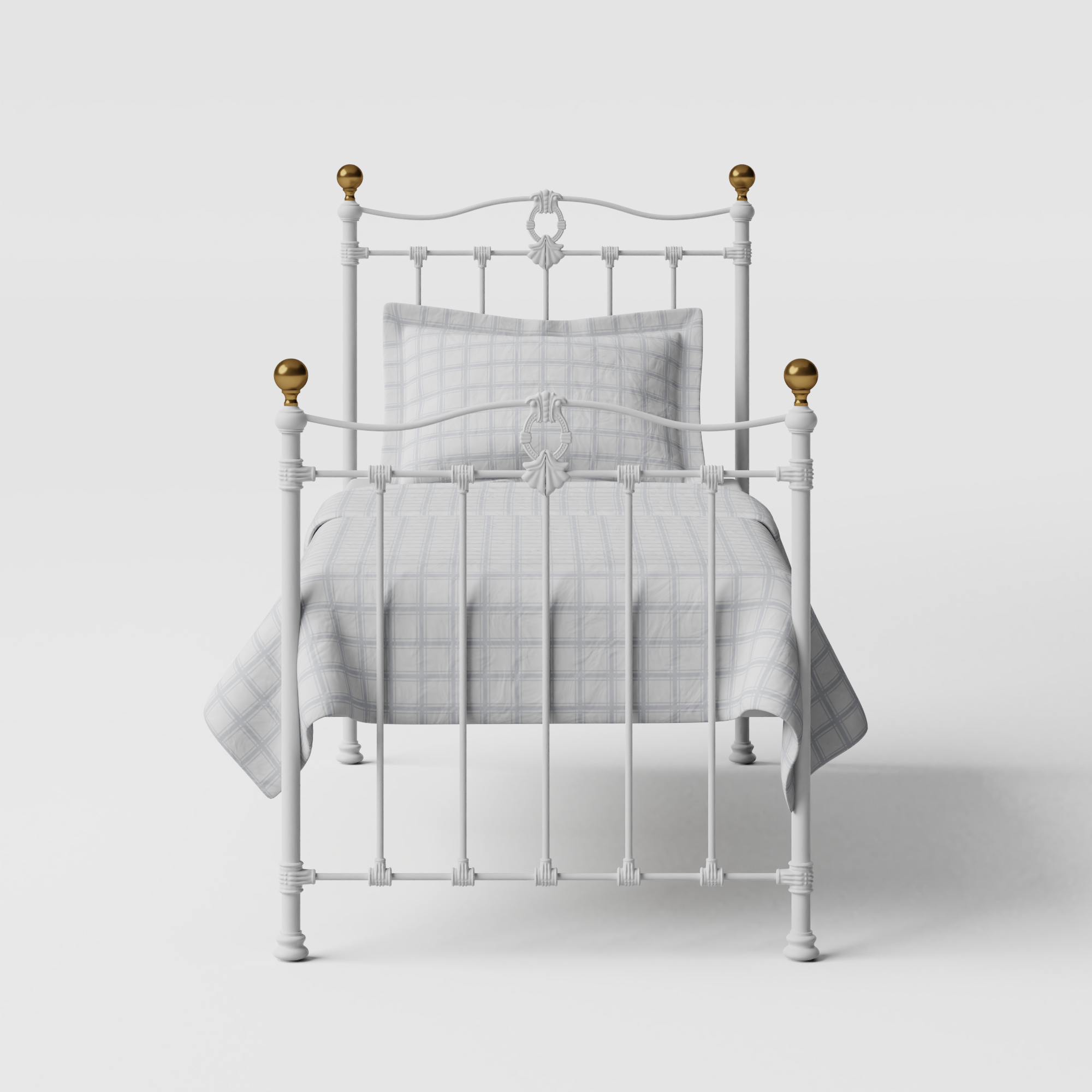 Tulsk iron/metal single bed in white