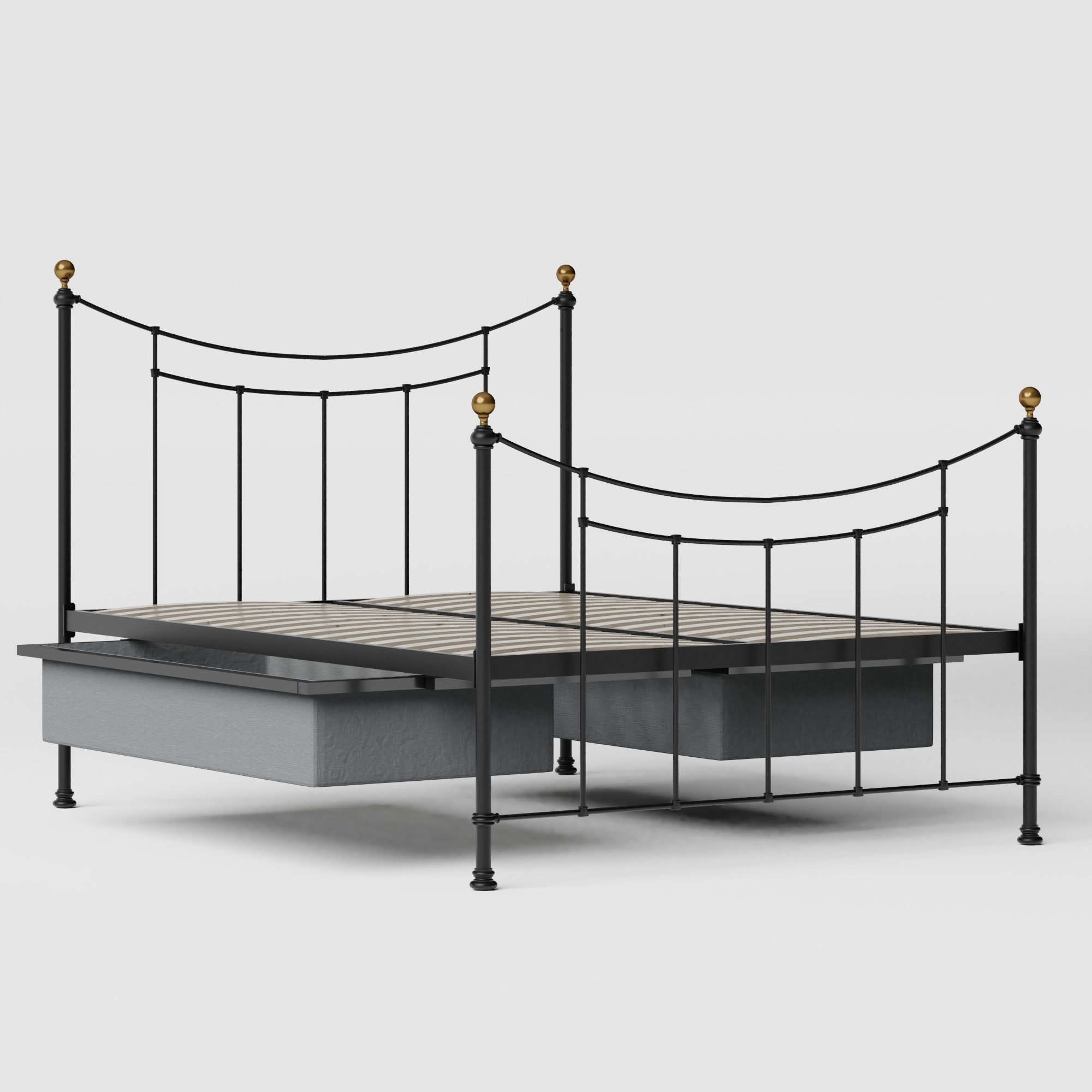 Virginia iron/metal bed in black with drawers