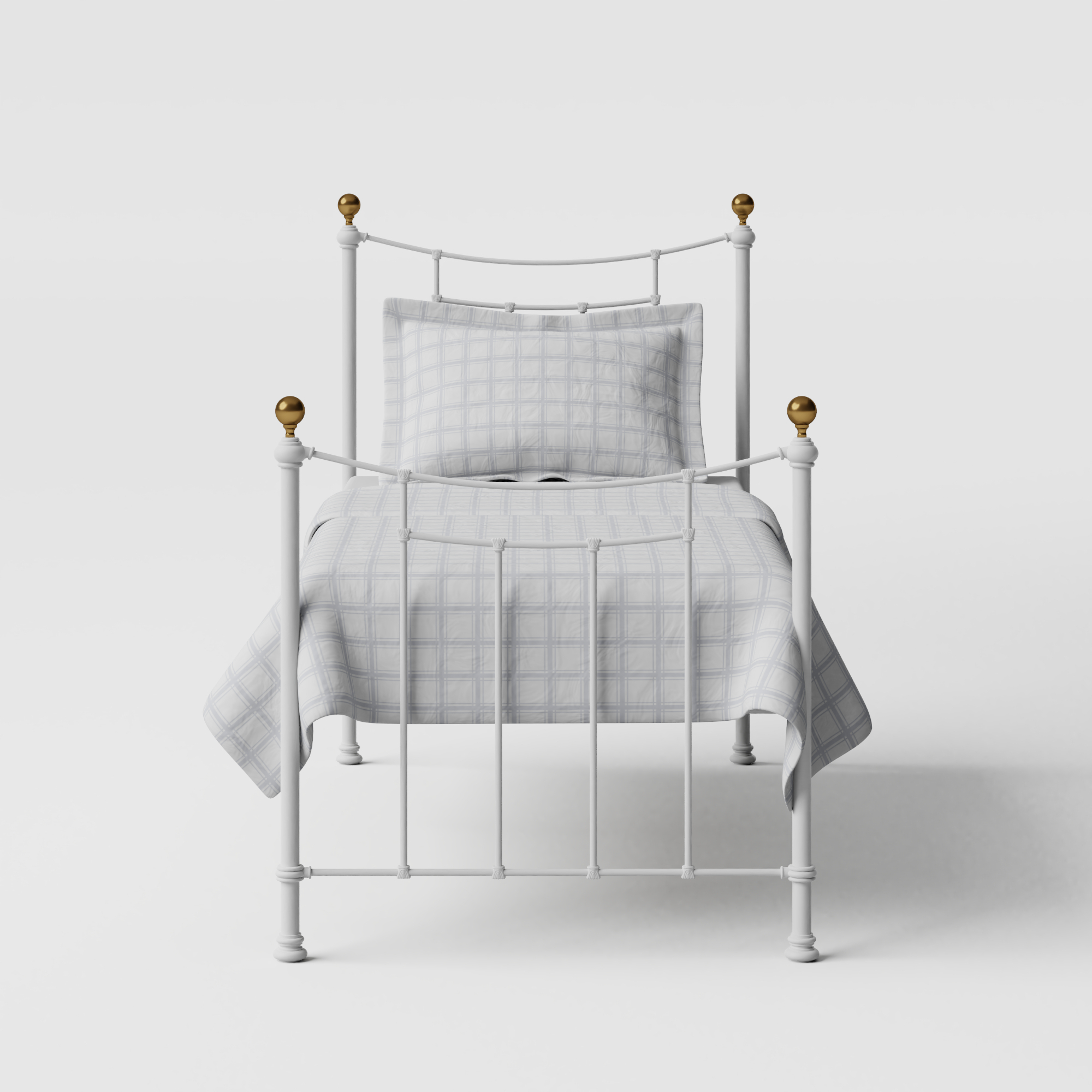 Virginia iron/metal single bed in white