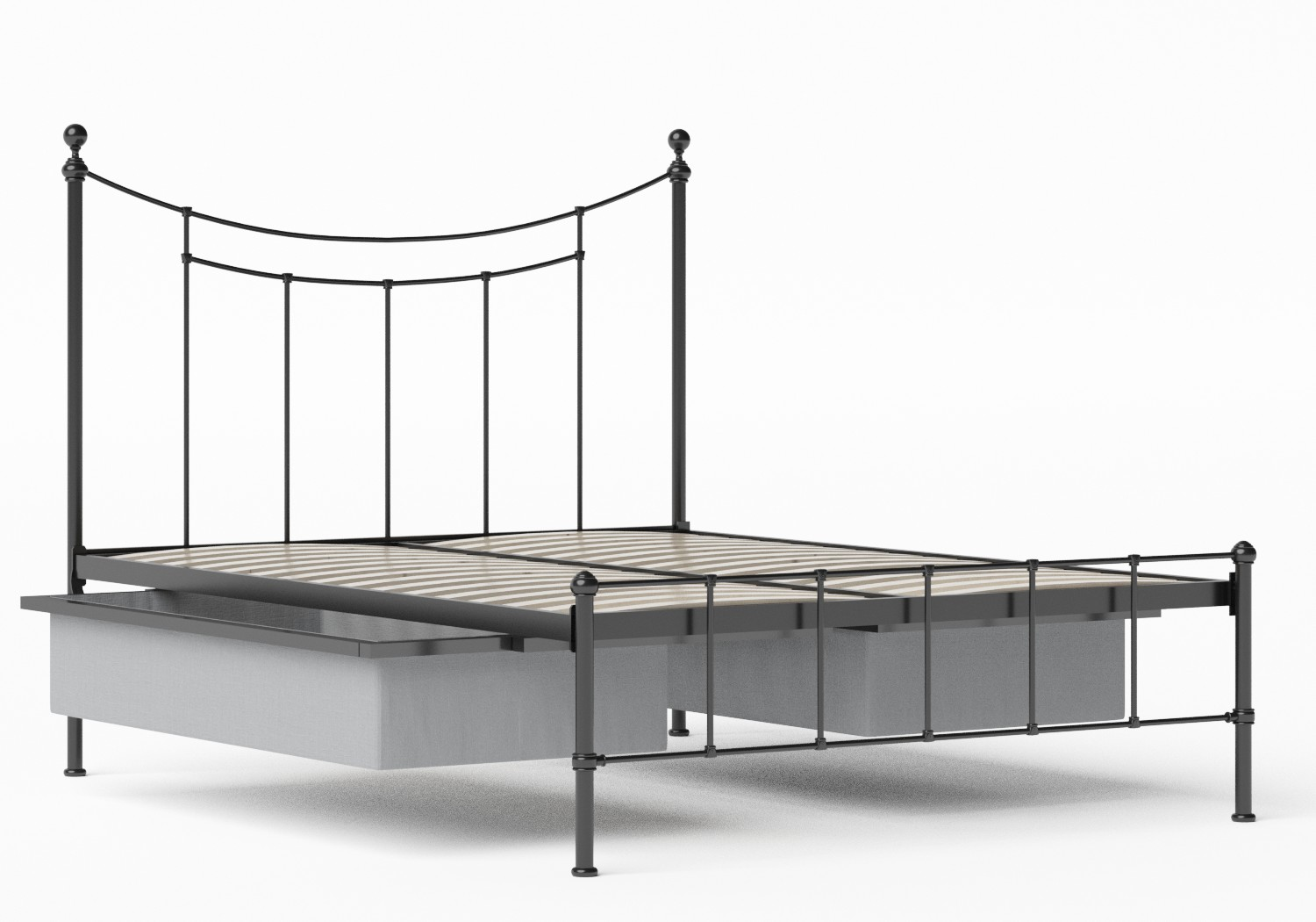 Isabelle Iron/Metal Bed in Satin Black shown with underbed storage