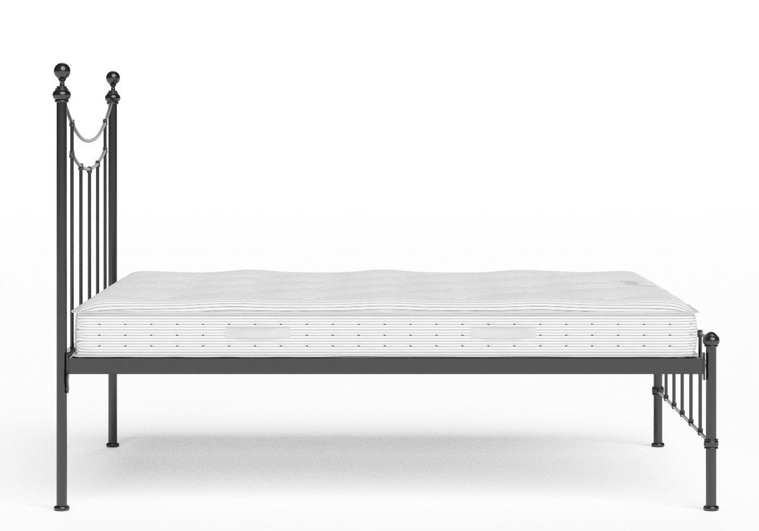 Isabelle Iron/Metal Bed in Satin Black shown with Juno 1 mattress