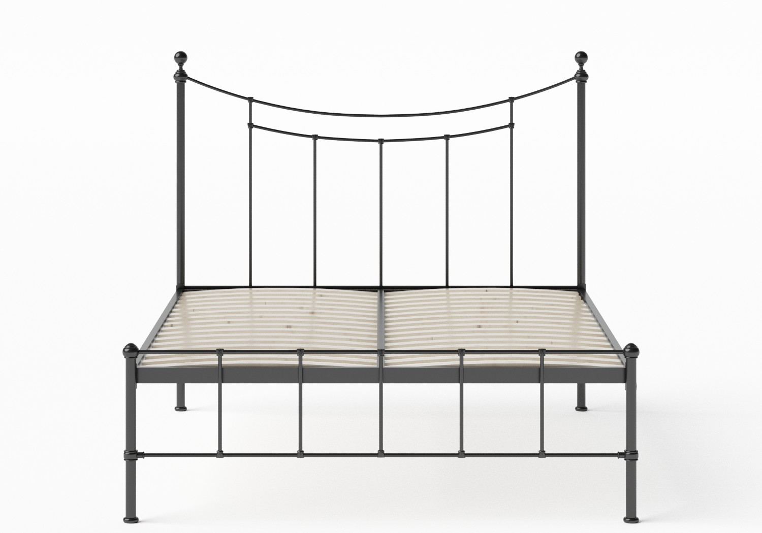 Isabelle Iron/Metal Bed in Satin Black shown with slatted frame