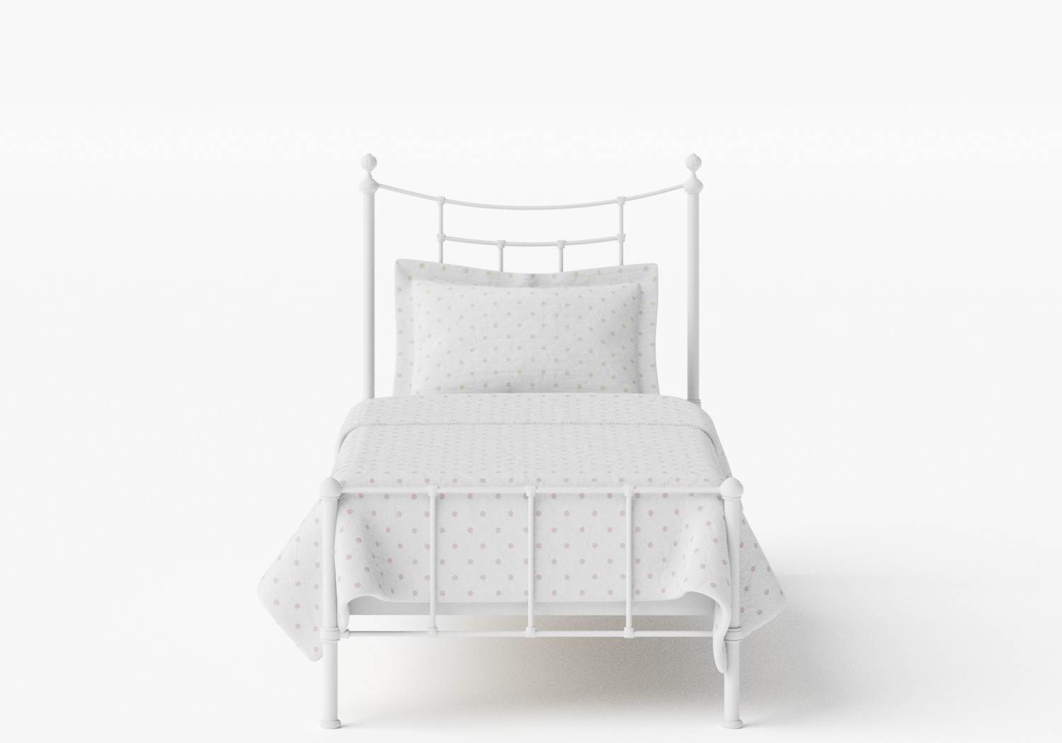 Isabelle Single Iron/Metal Bed in Satin White