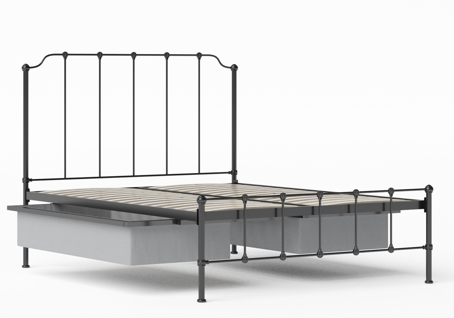 Julia Iron/Metal Bed in Satin Black shown with underbed storage