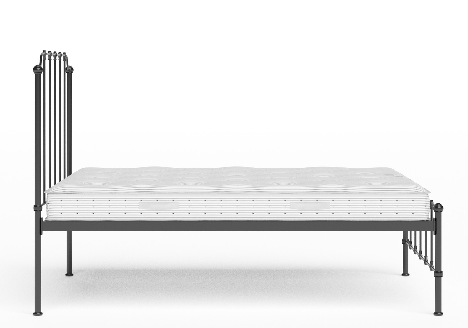 Julia Iron/Metal Bed in Satin Black shown with Juno 1 mattress