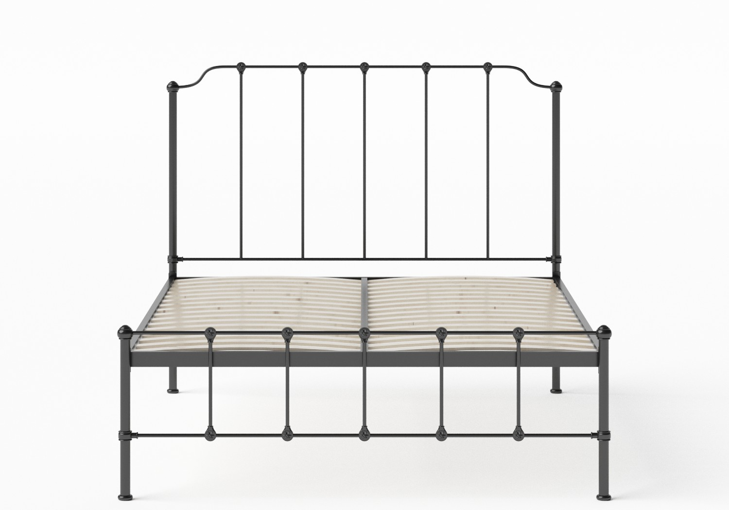 Julia Iron/Metal Bed in Satin Black shown with slatted frame