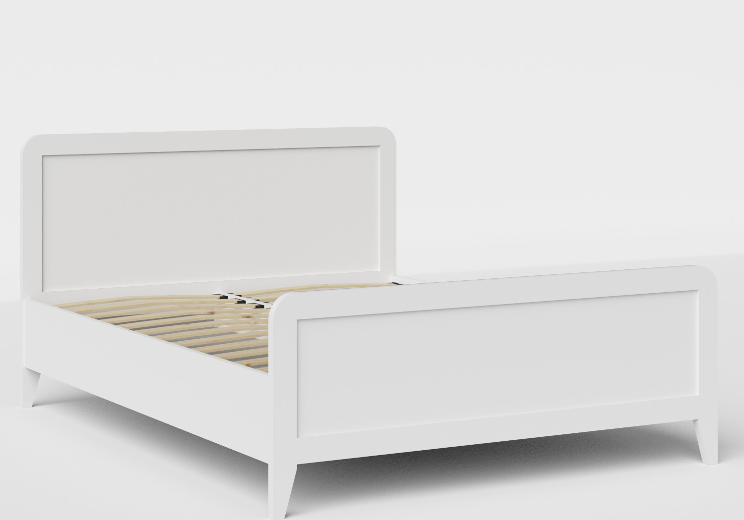Keats Wood Bed in White shown with slatted frame
