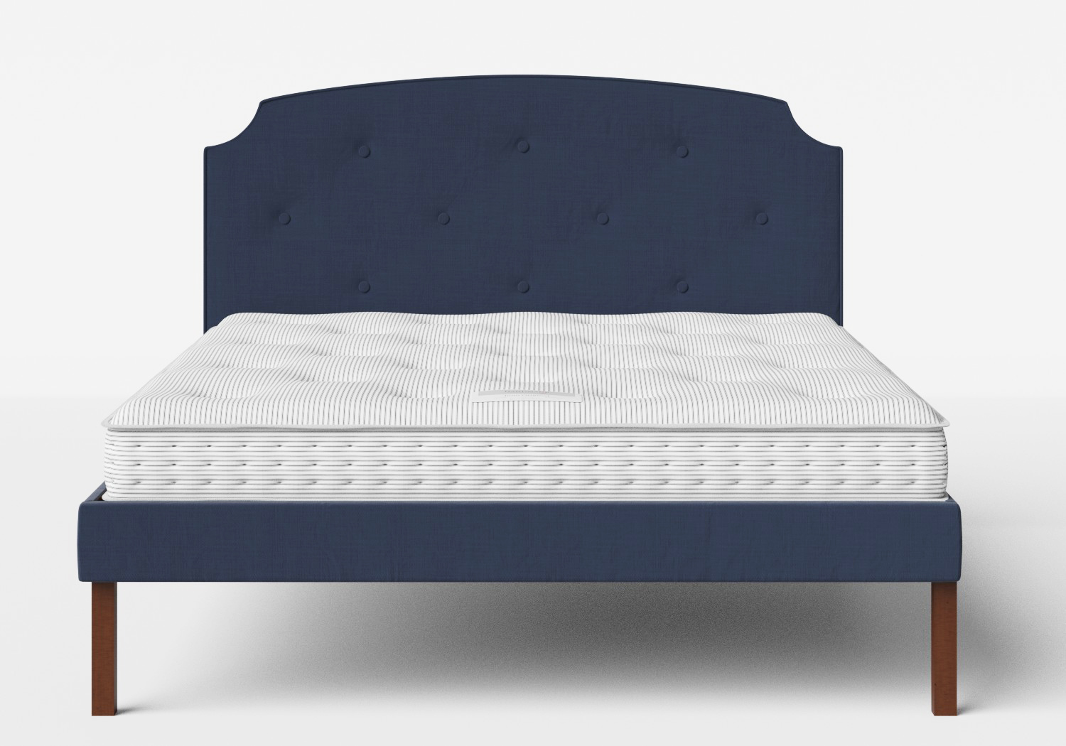 Kobe Upholstered Bed in Navy fabric with buttoning shown with Juno 1 mattress