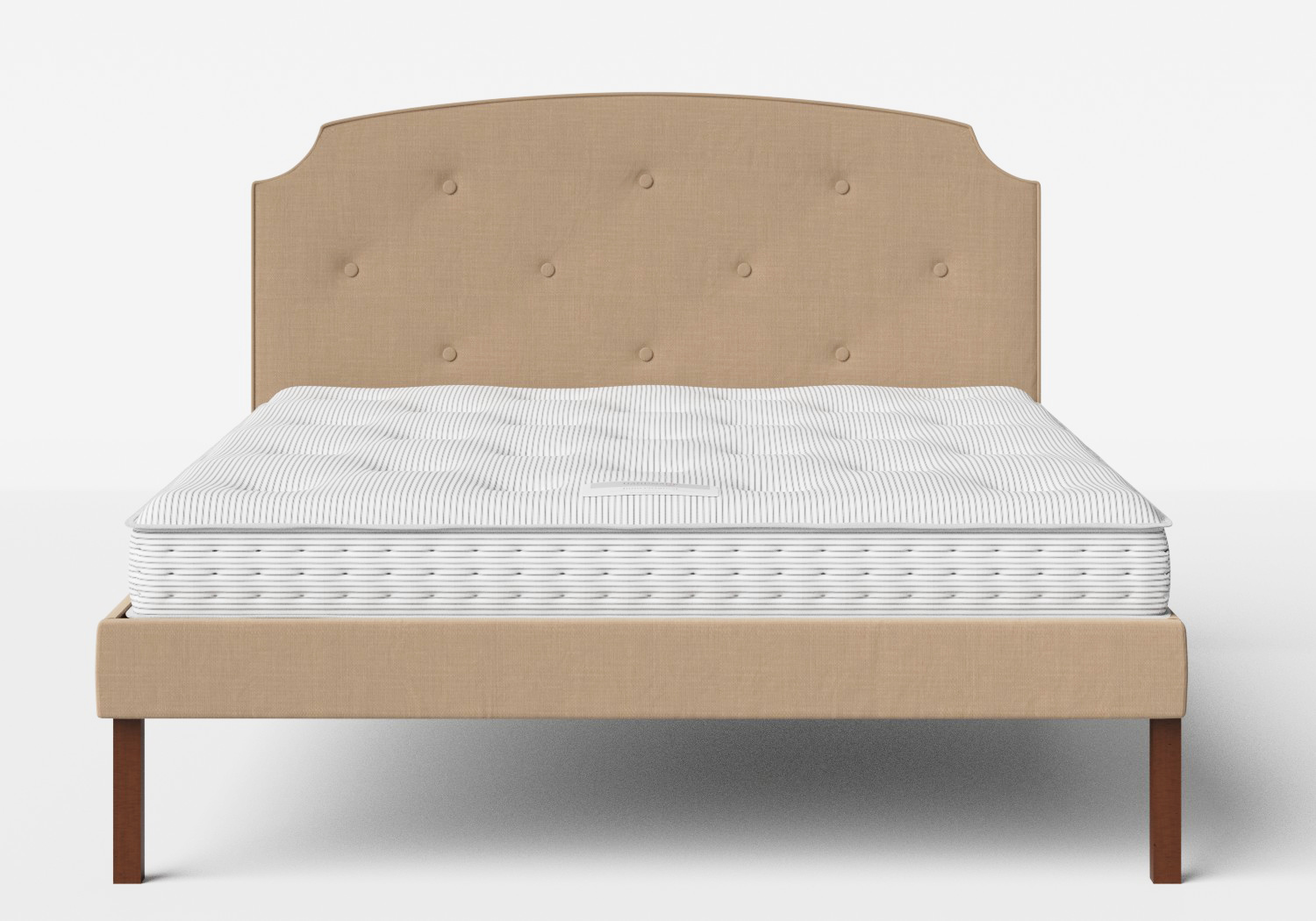 Kobe Upholstered Bed in Straw fabric with buttoning shown with Juno 1 mattress