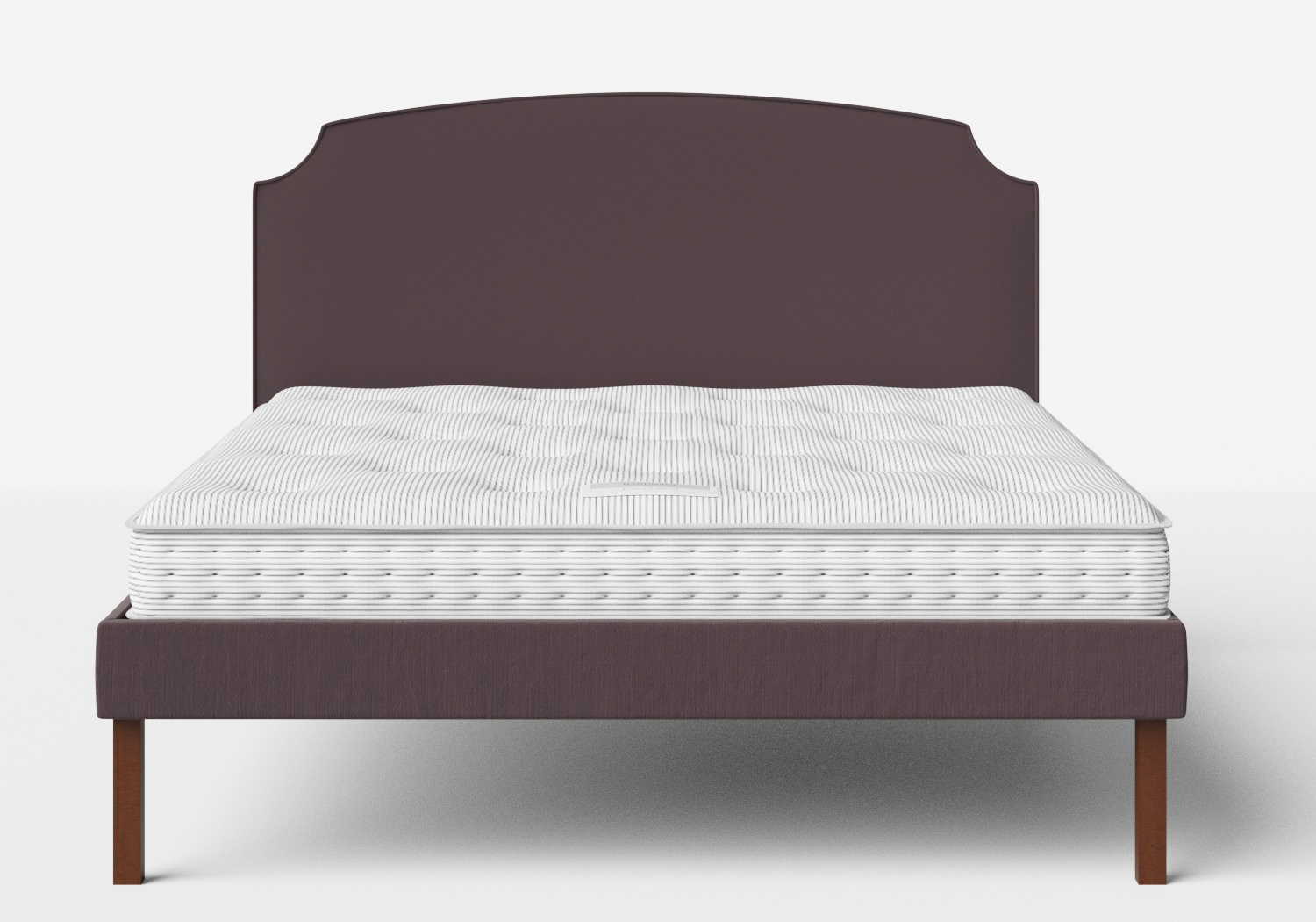 Kobe Upholstered Bed in Aubergine fabric with piping shown with Juno 1 mattress