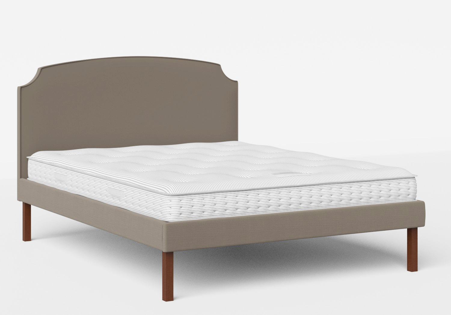 Kobe Upholstered Bed in Grey fabric with piping shown with Juno 1 mattress