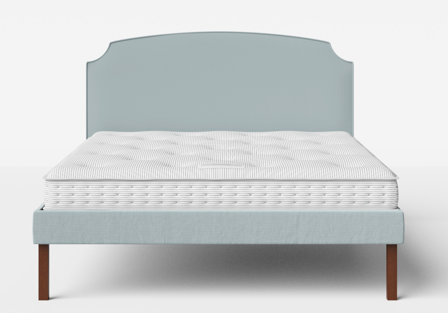Kobe Upholstered Bed in Wedgewood fabric shown with Juno 1 mattress