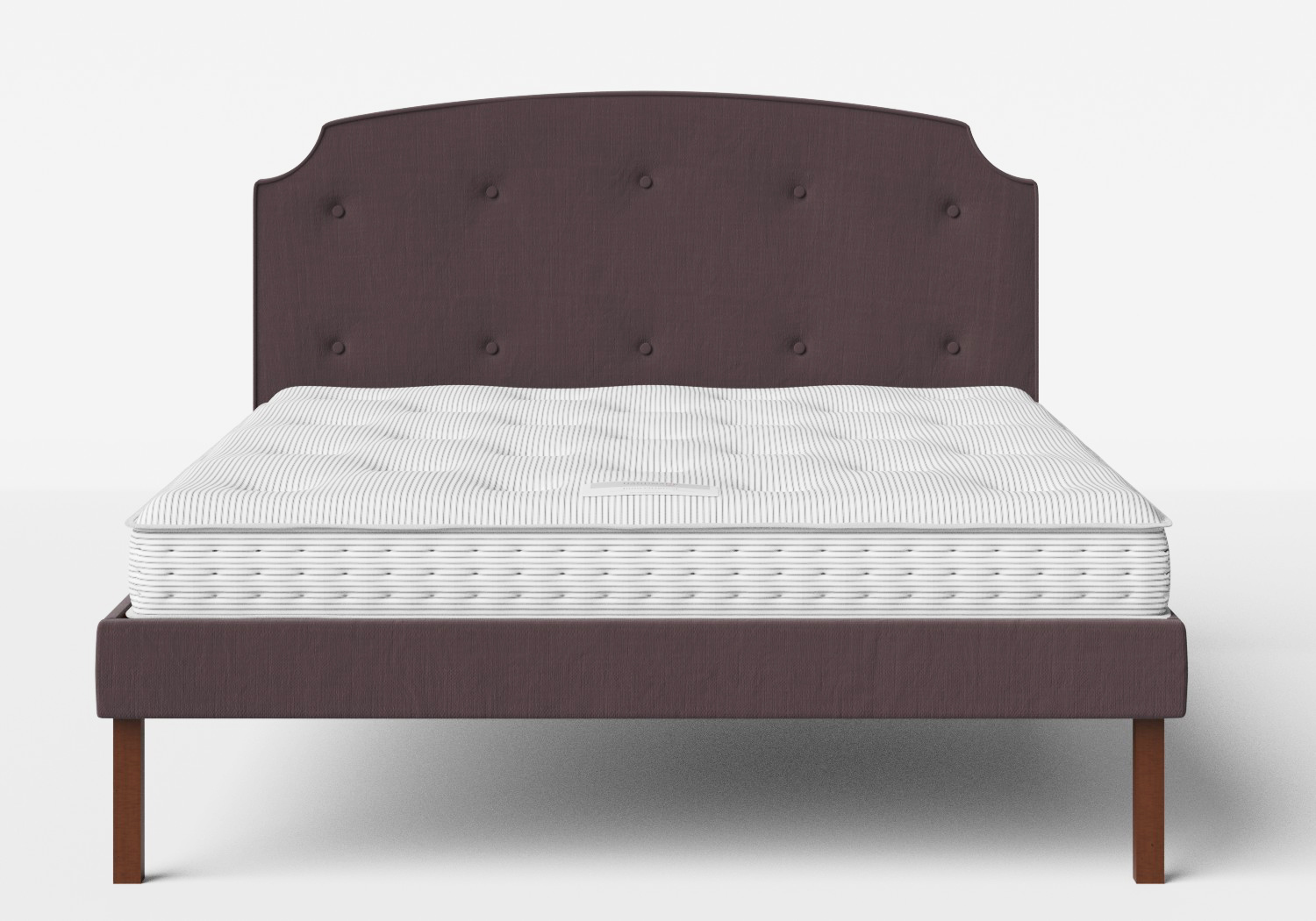 Kobe Upholstered Bed in Aubergine fabric with buttoning shown with Juno 1 mattress