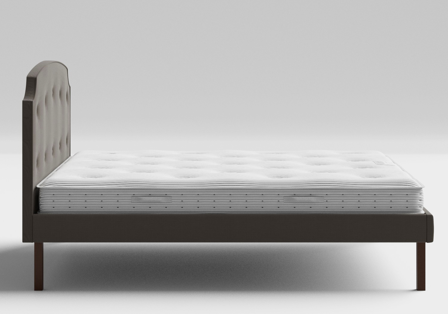 Kobe Upholstered Bed in Grey fabric with buttoning shown with Juno 1 mattress
