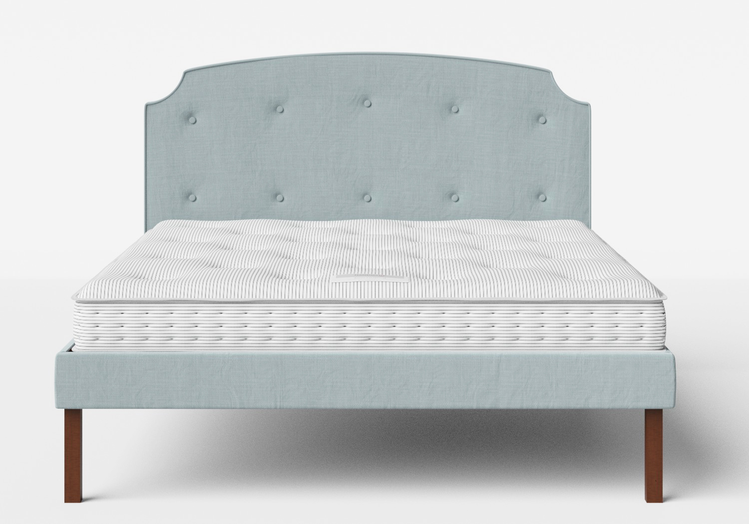 Kobe Upholstered Bed in Wedgewood fabric with buttoning shown with Juno 1 mattress