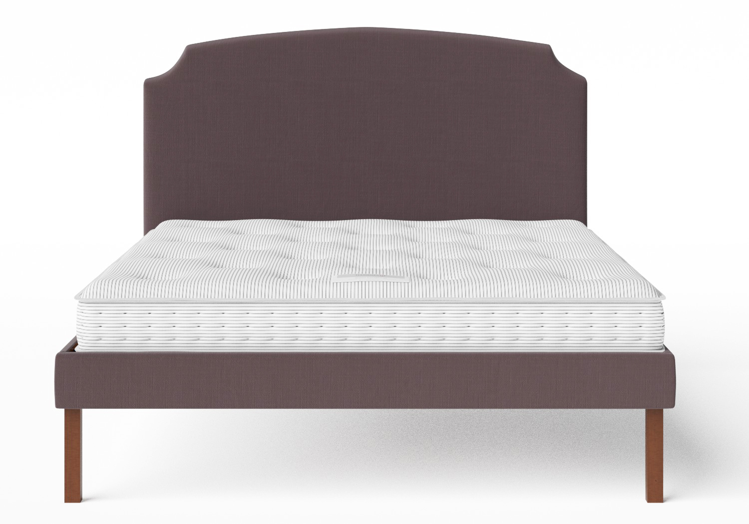 Kobe Upholstered Bed in Aubergine fabric shown with Juno 1 mattress