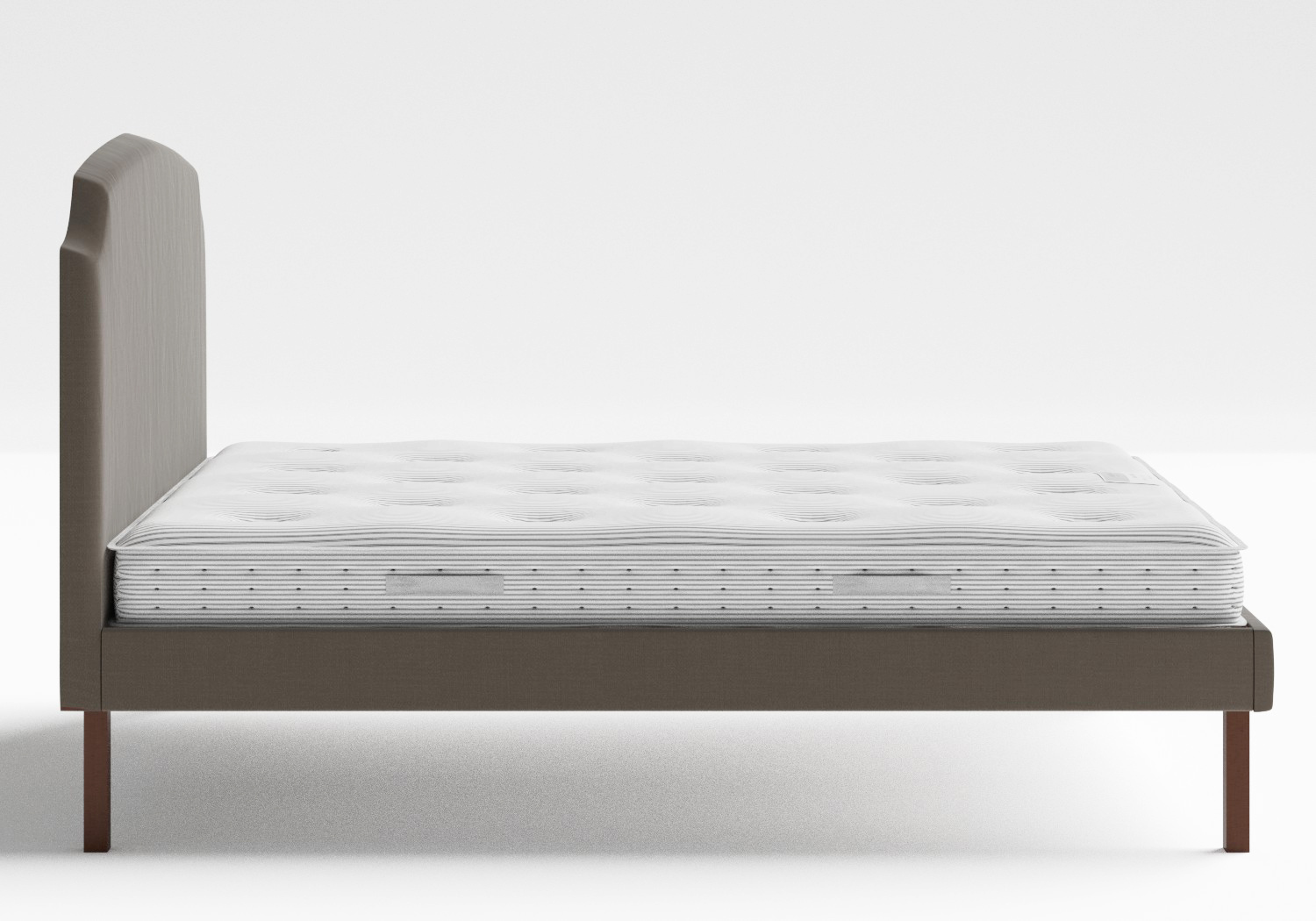 Kobe Upholstered Bed in Grey fabric shown with Juno 1 mattress
