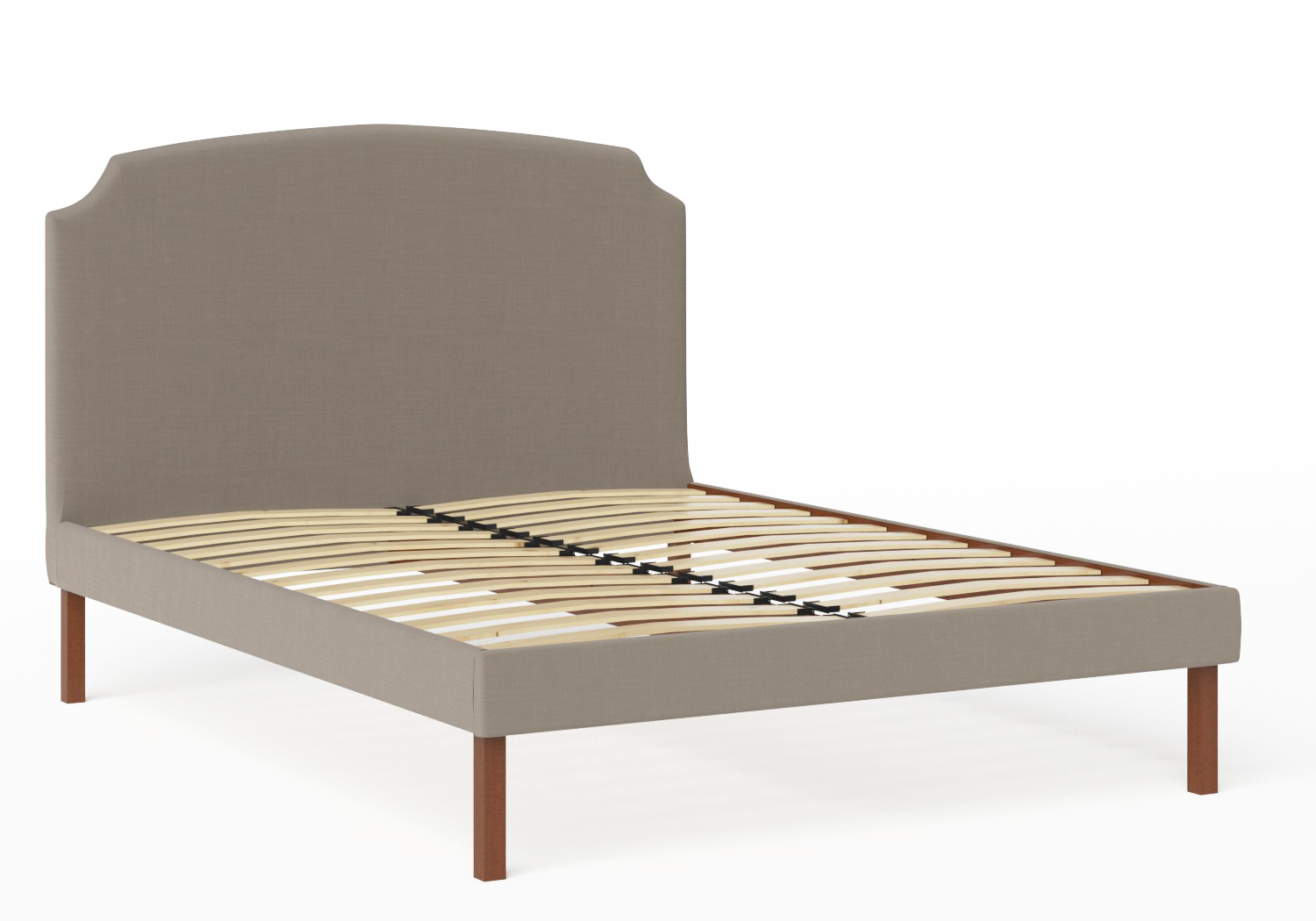 Kobe Upholstered Bed in Grey fabric shown with slatted frame