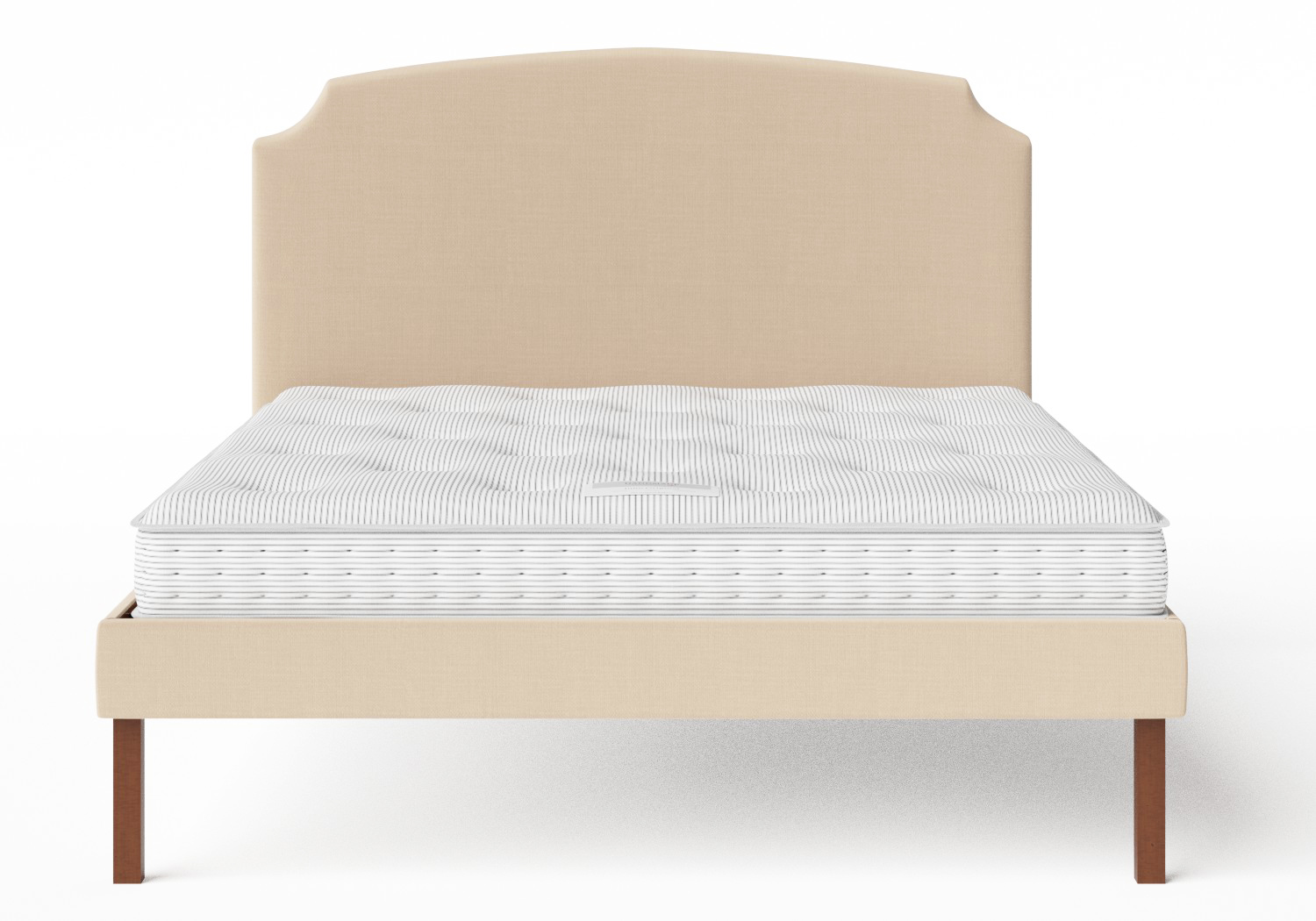 Kobe Upholstered Bed in Natural fabric shown with Juno 1 mattress