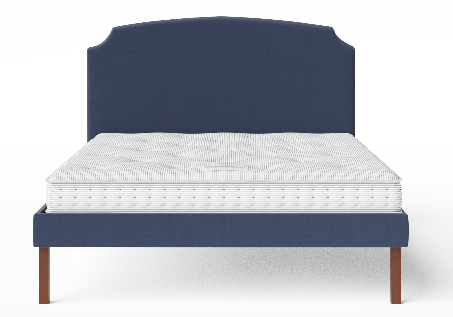 Kobe Upholstered Bed in Navy fabric shown with Juno 1 mattress