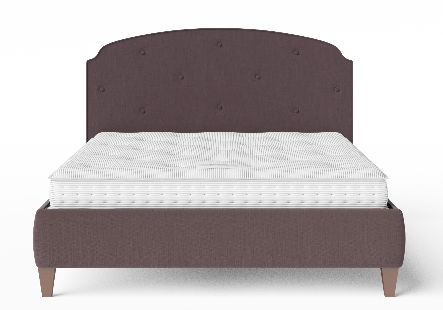 Lide Upholstered Bed in Aubergine fabric with buttoning shown with Juno 1 mattress