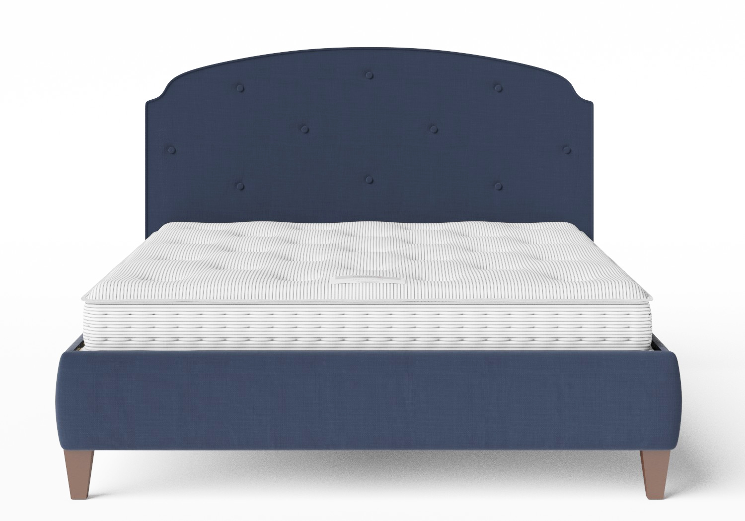 Lide Upholstered Bed in Navy fabric with buttoning shown with Juno 1 mattress