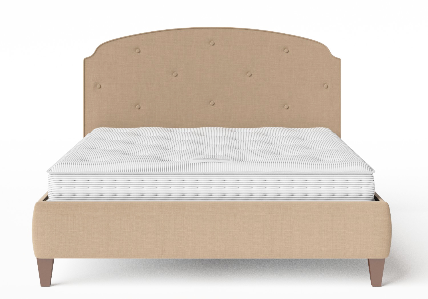 Lide Upholstered Bed in Straw fabric with buttoning shown with Juno 1 mattress