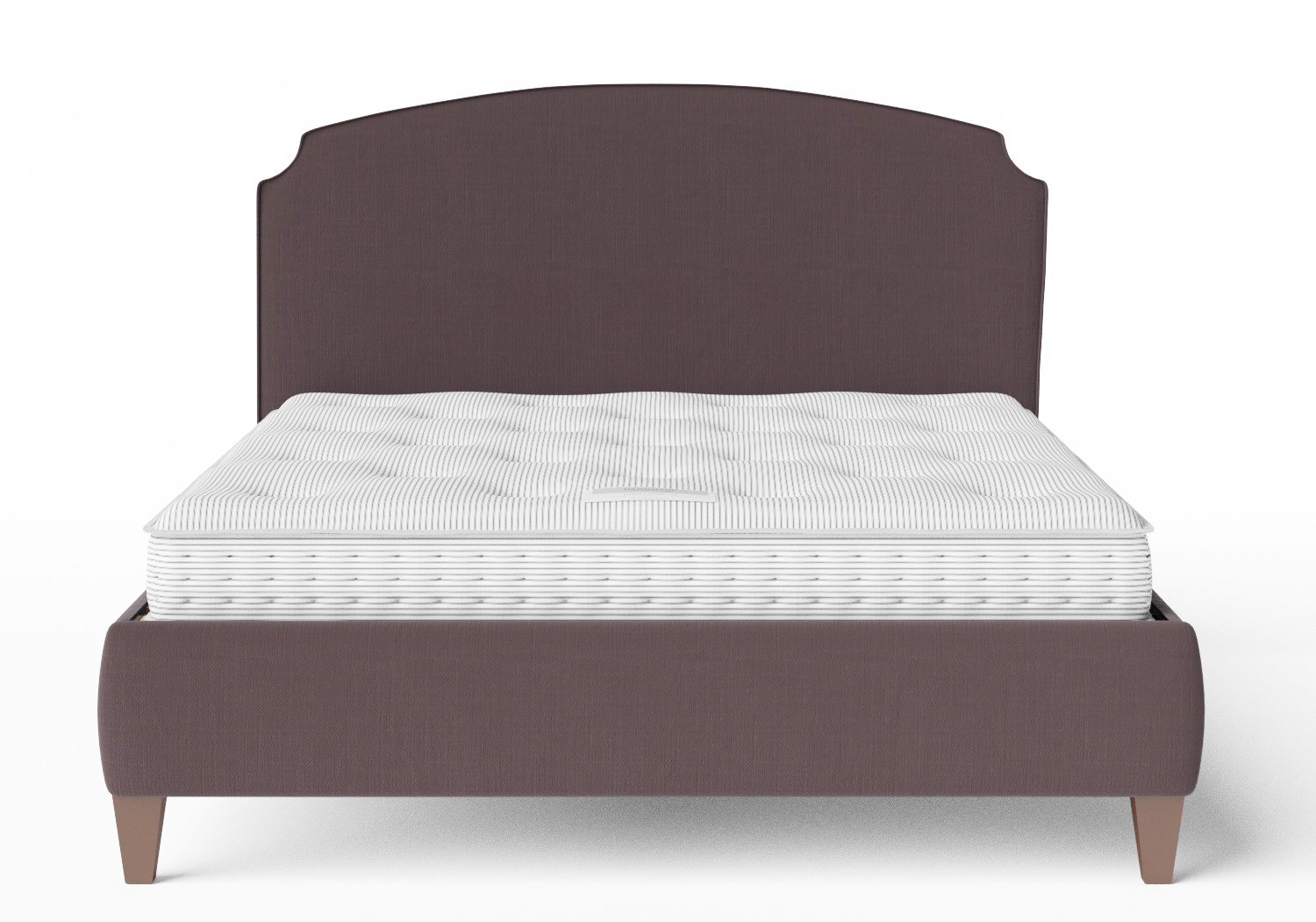 Lide Upholstered Bed in Aubergine fabric with piping shown with Juno 1 mattress