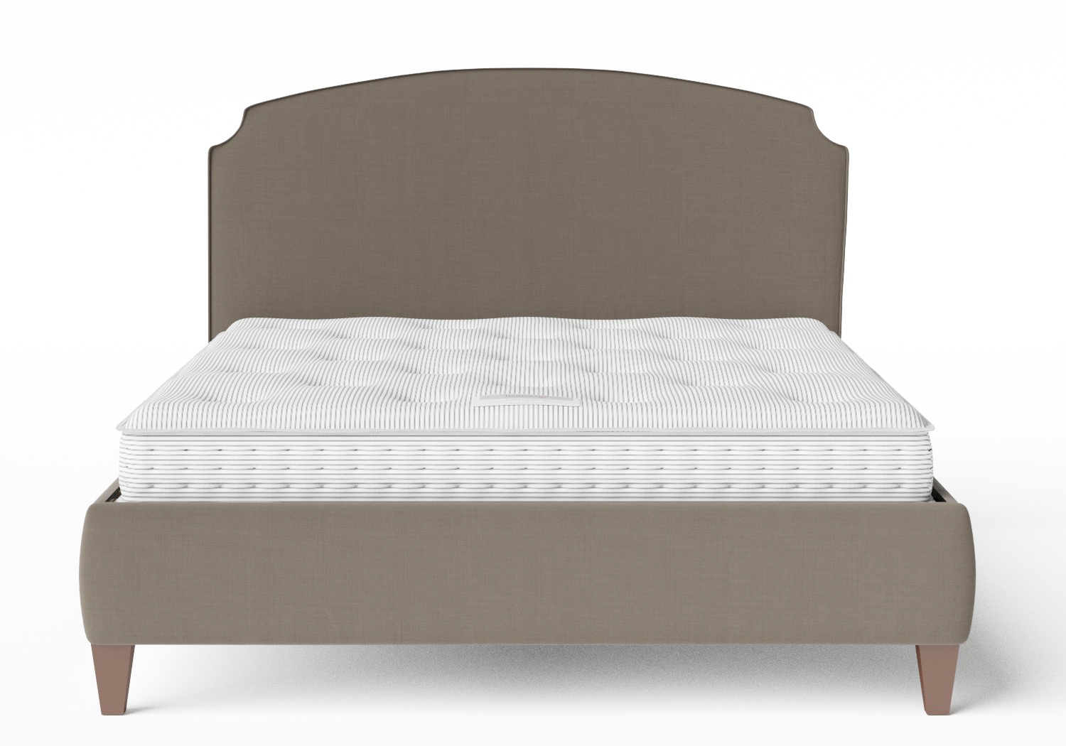 Lide Upholstered Bed in Grey fabric with piping shown with Juno 1 mattress