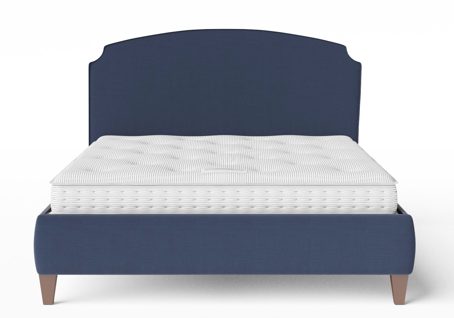 Lide Upholstered Bed in Navy fabric with piping shown with Juno 1 mattress