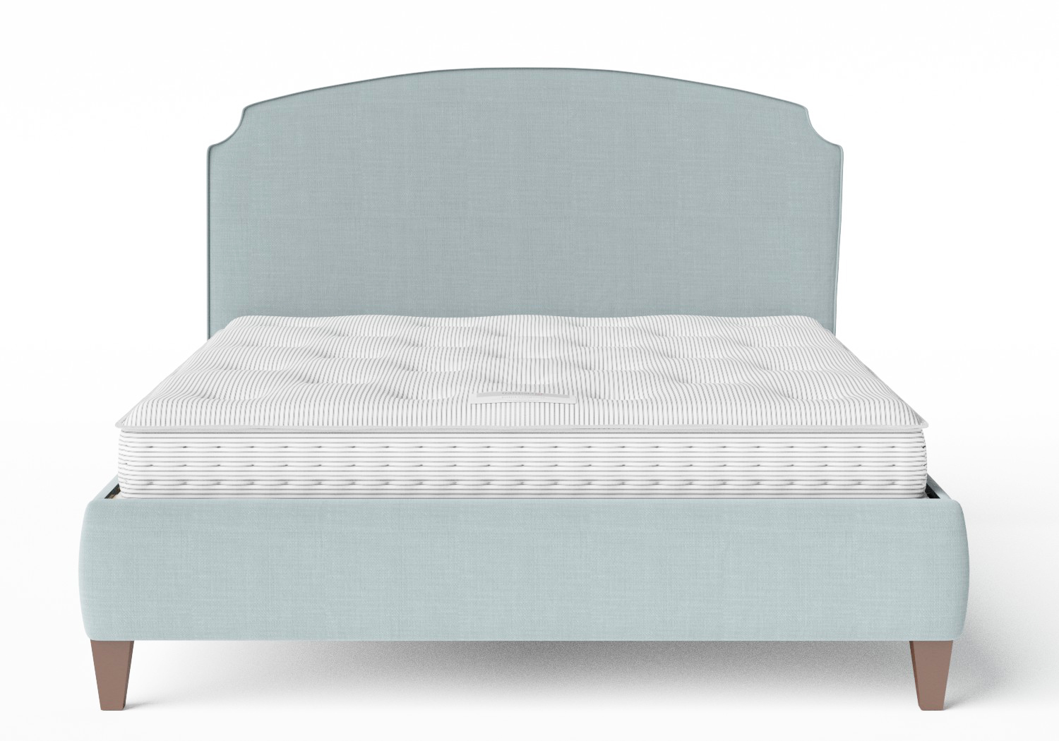 Lide Upholstered Bed in Wedgewood fabric with piping shown with Juno 1 mattress
