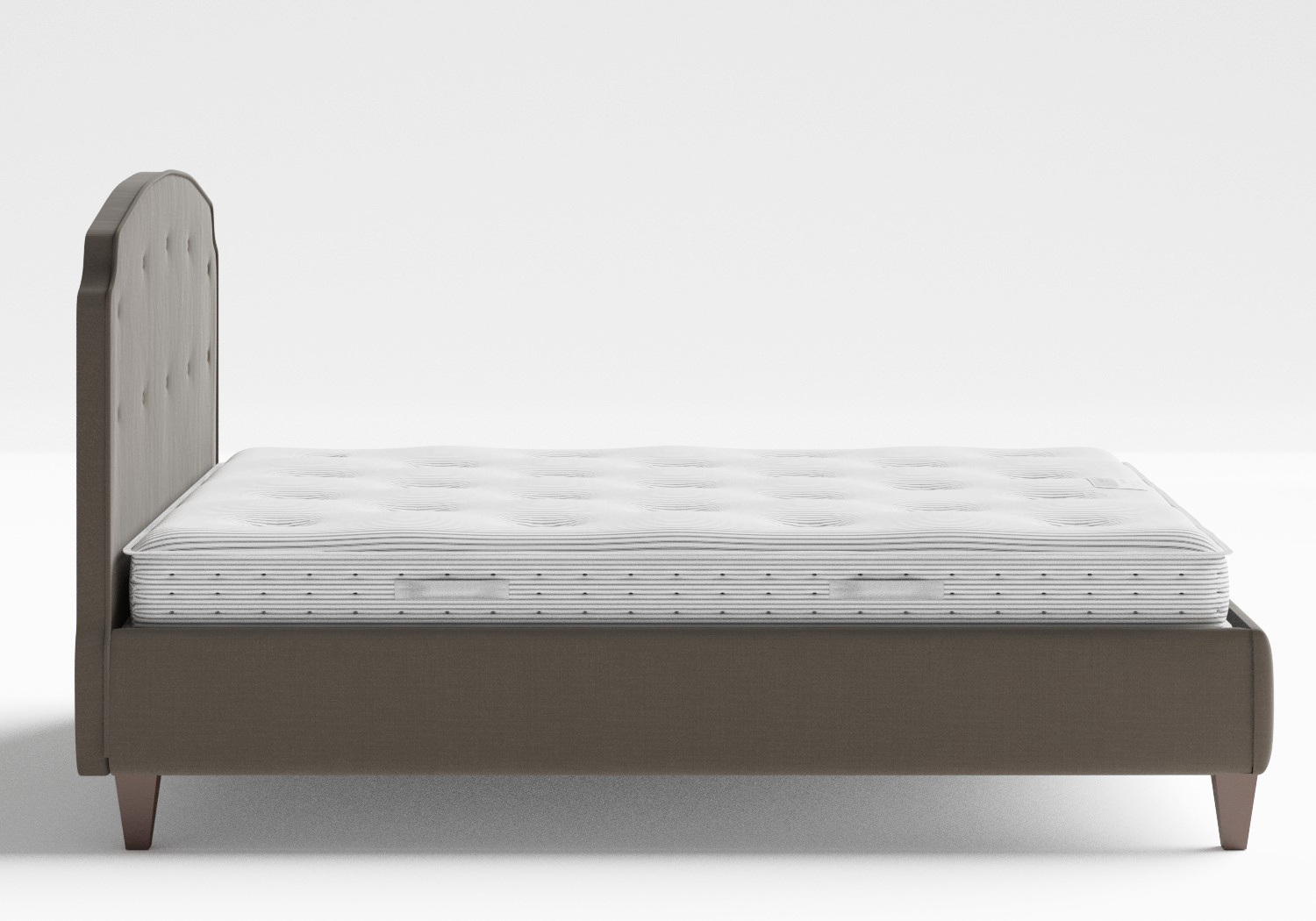 Lide Upholstered Bed in Grey fabric with buttoning shown with Juno 1 mattress
