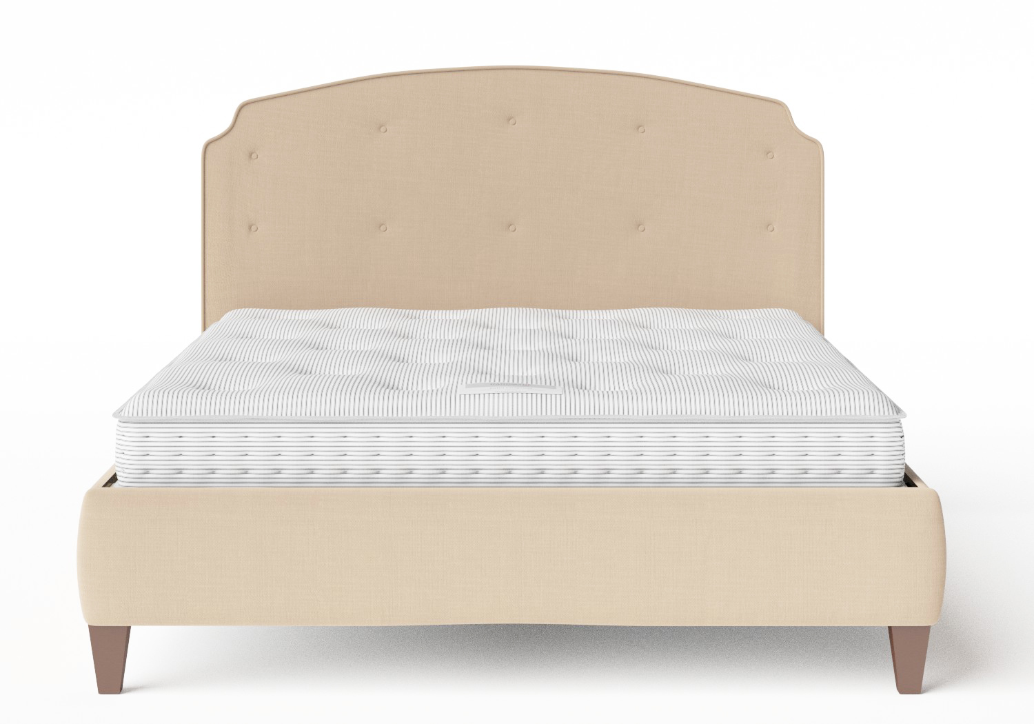 Lide Upholstered Bed in Natural fabric with buttoning shown with Juno 1 mattress