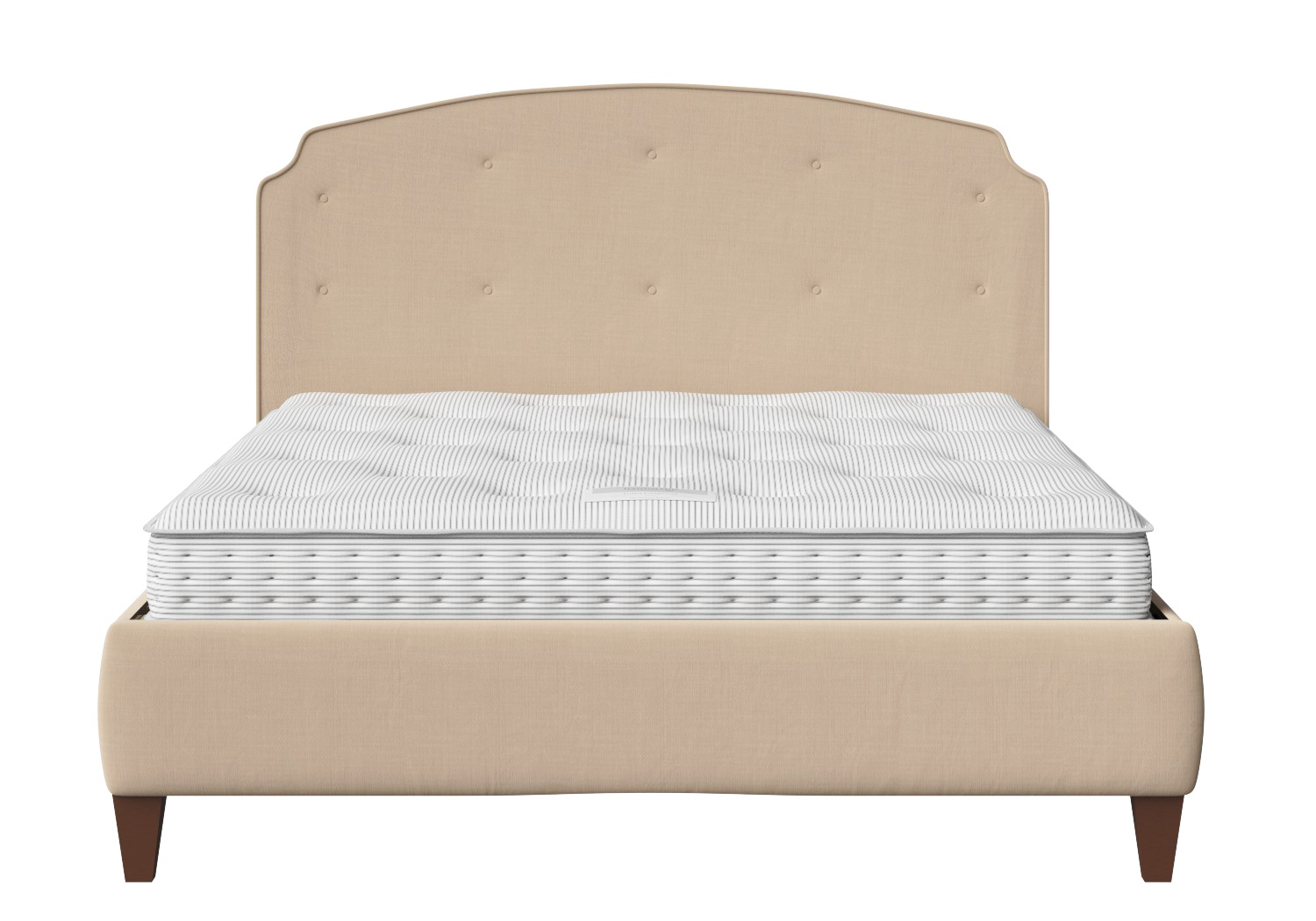 Lide square buttoned upholstered bed in natural fabric