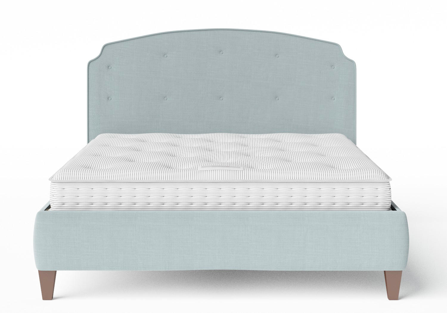 Lide Upholstered Bed in Wedgewood fabric with buttoning shown with Juno 1 mattress