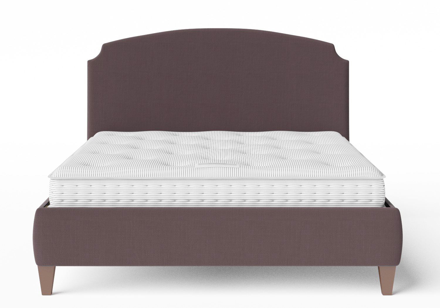 Lide Upholstered Bed in Aubergine fabric shown with Juno 1 mattress