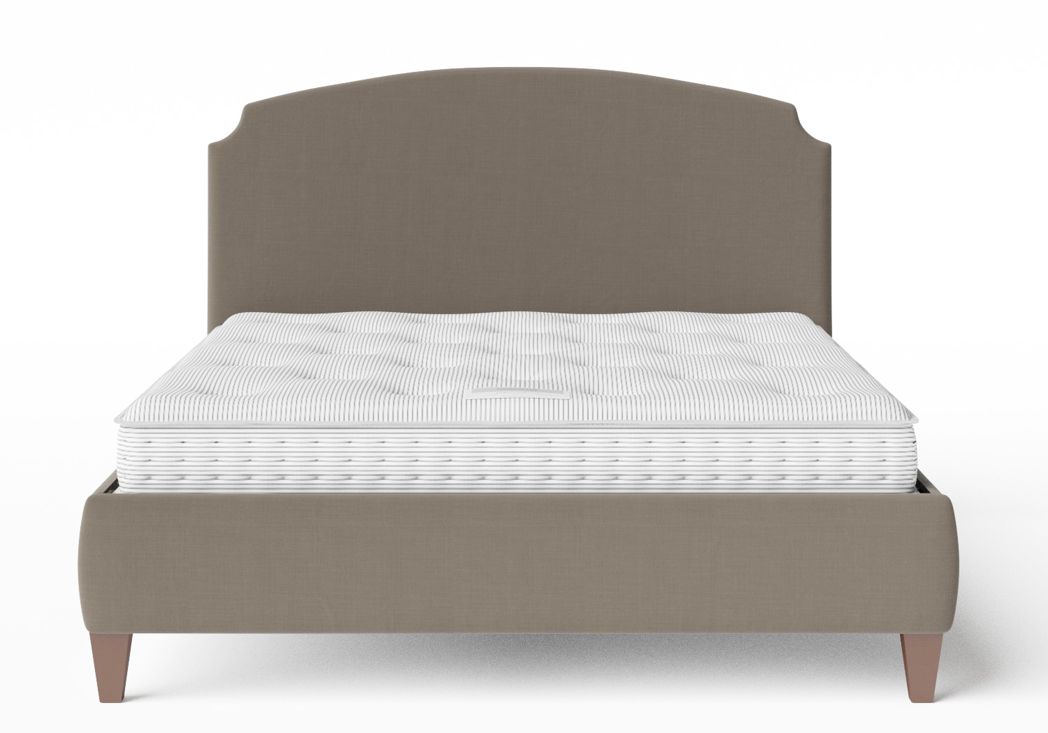 Lide Upholstered Bed in Grey fabric shown with Juno 1 mattress