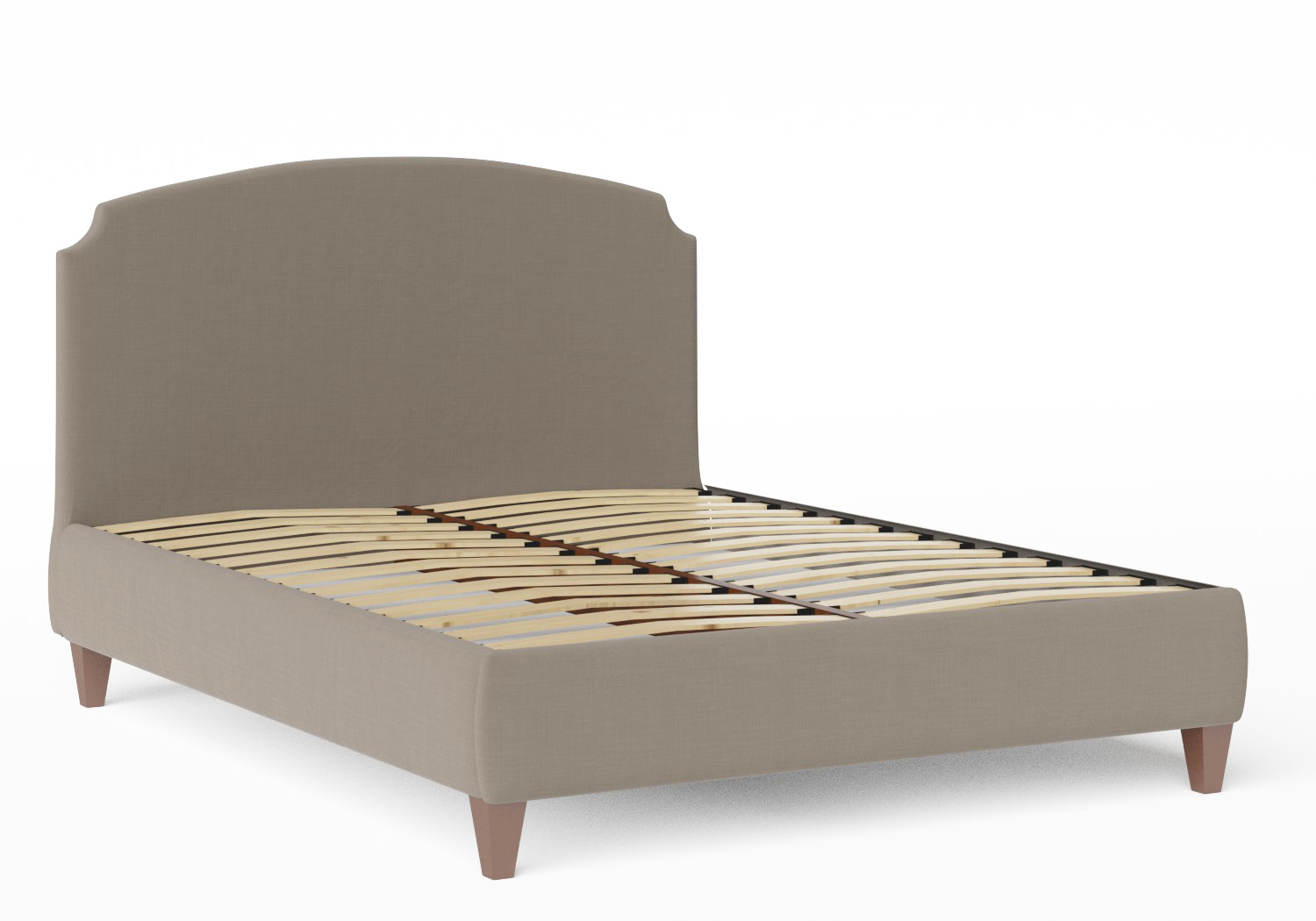 Lide Upholstered Bed in Grey fabric shown with slatted frame