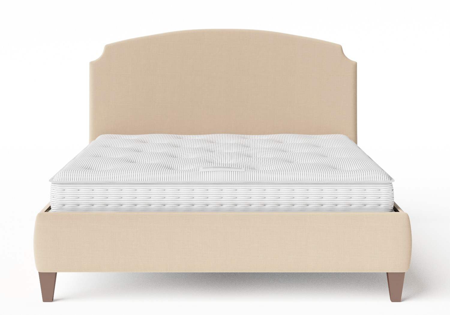 Lide Upholstered Bed in Natural fabric shown with Juno 1 mattress