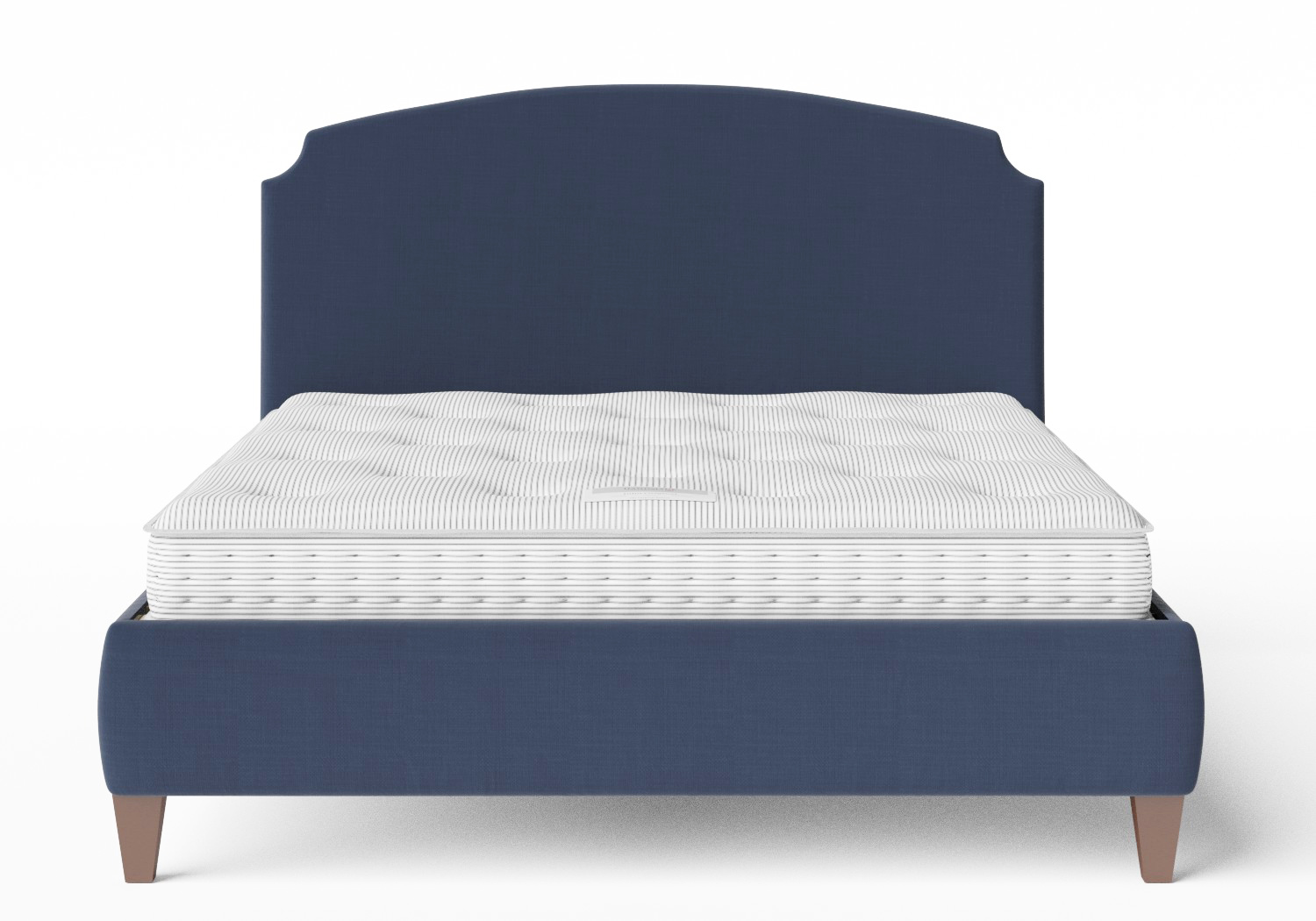 Lide Upholstered Bed in Navy fabric shown with Juno 1 mattress