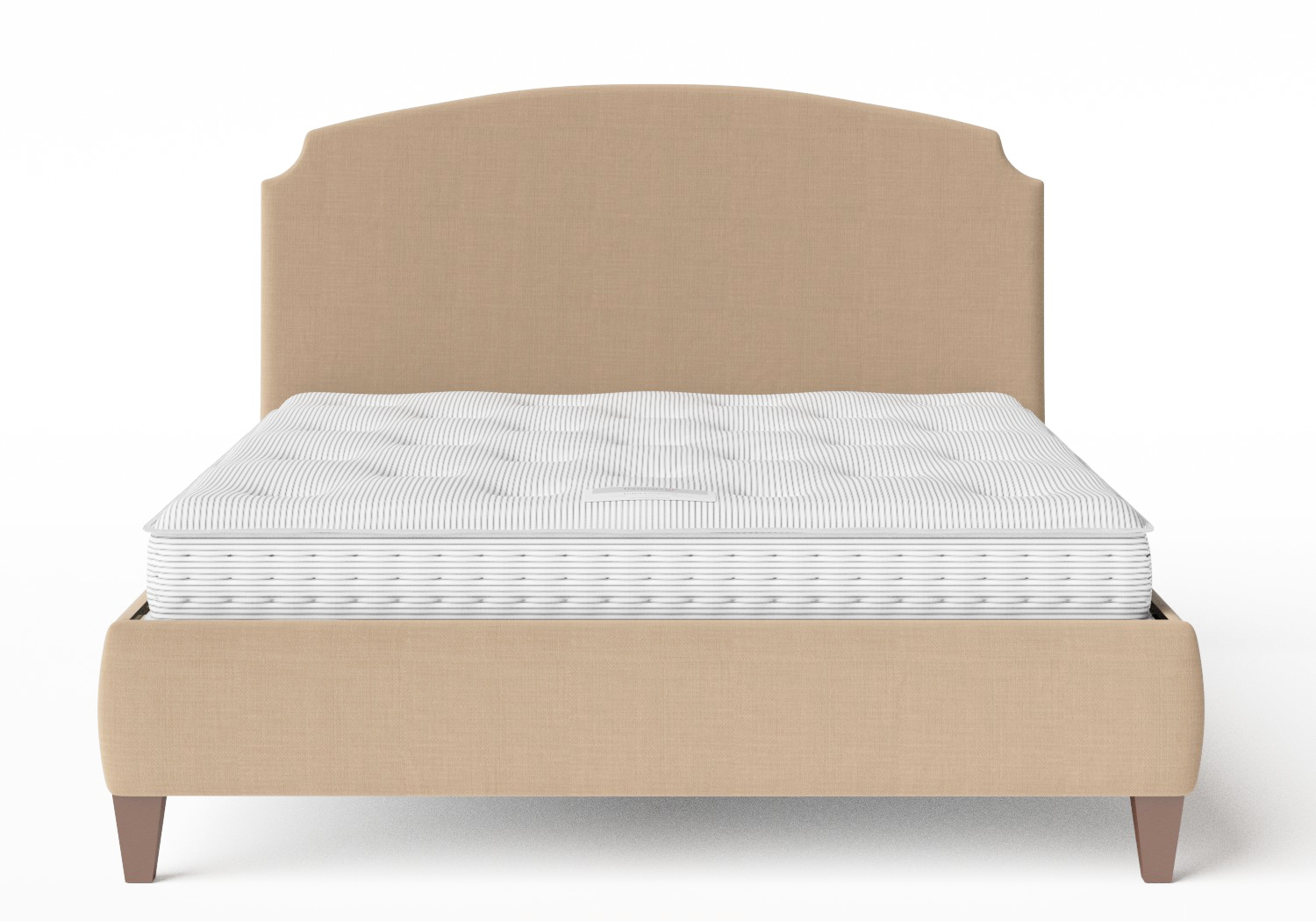 Lide Upholstered Bed in Straw fabric shown with Juno 1 mattress