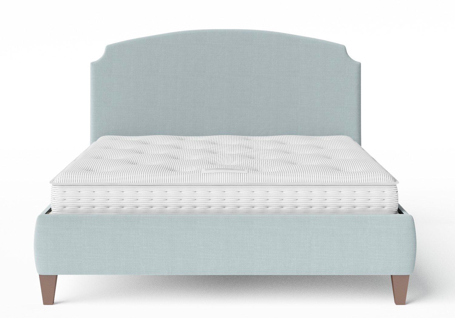 Lide Upholstered Bed in Wedgewood fabric shown with Juno 1 mattress